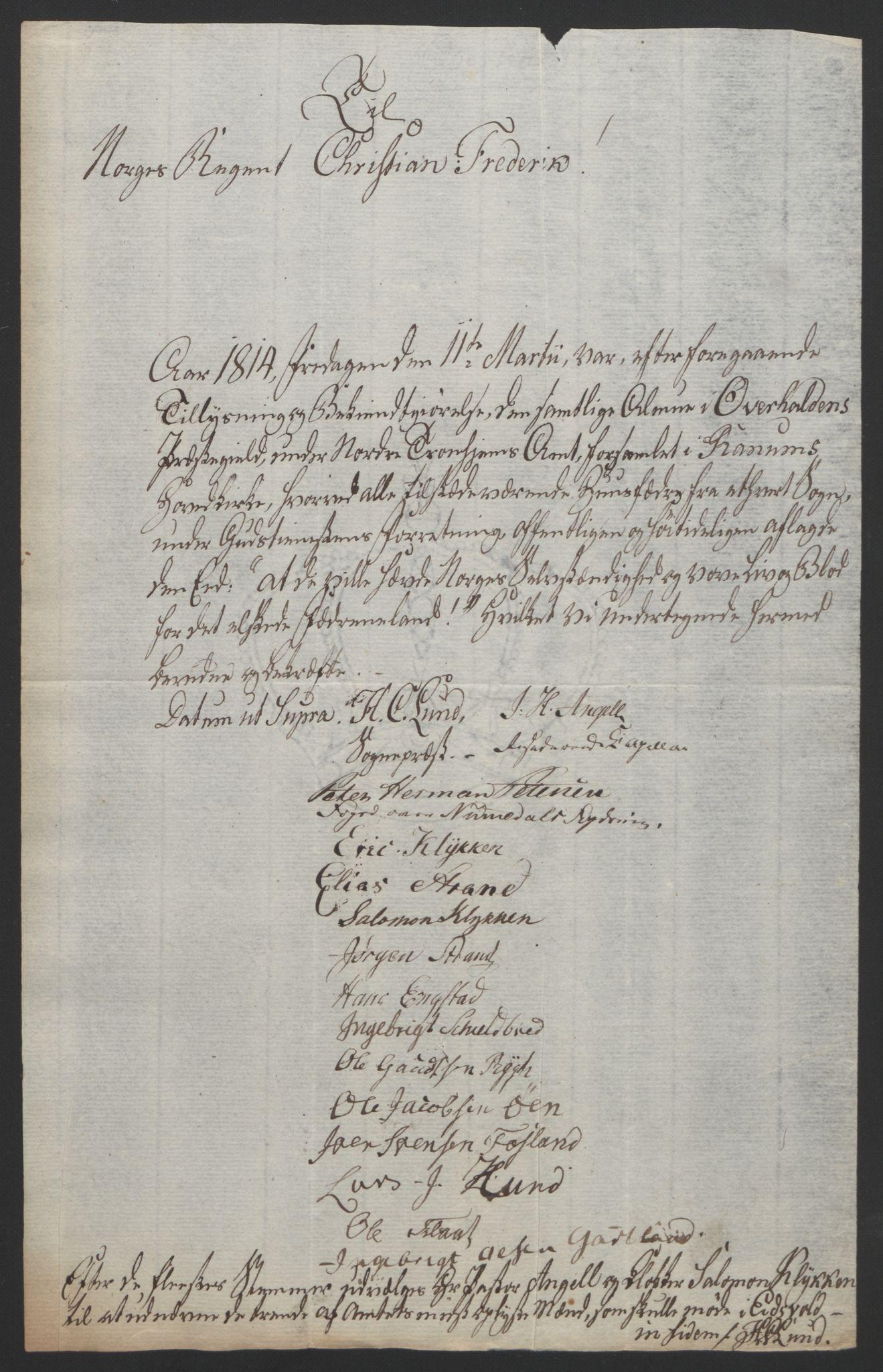 RA, Statsrådssekretariatet, D/Db/L0008: Fullmakter for Eidsvollsrepresentantene i 1814. , 1814, s. 474