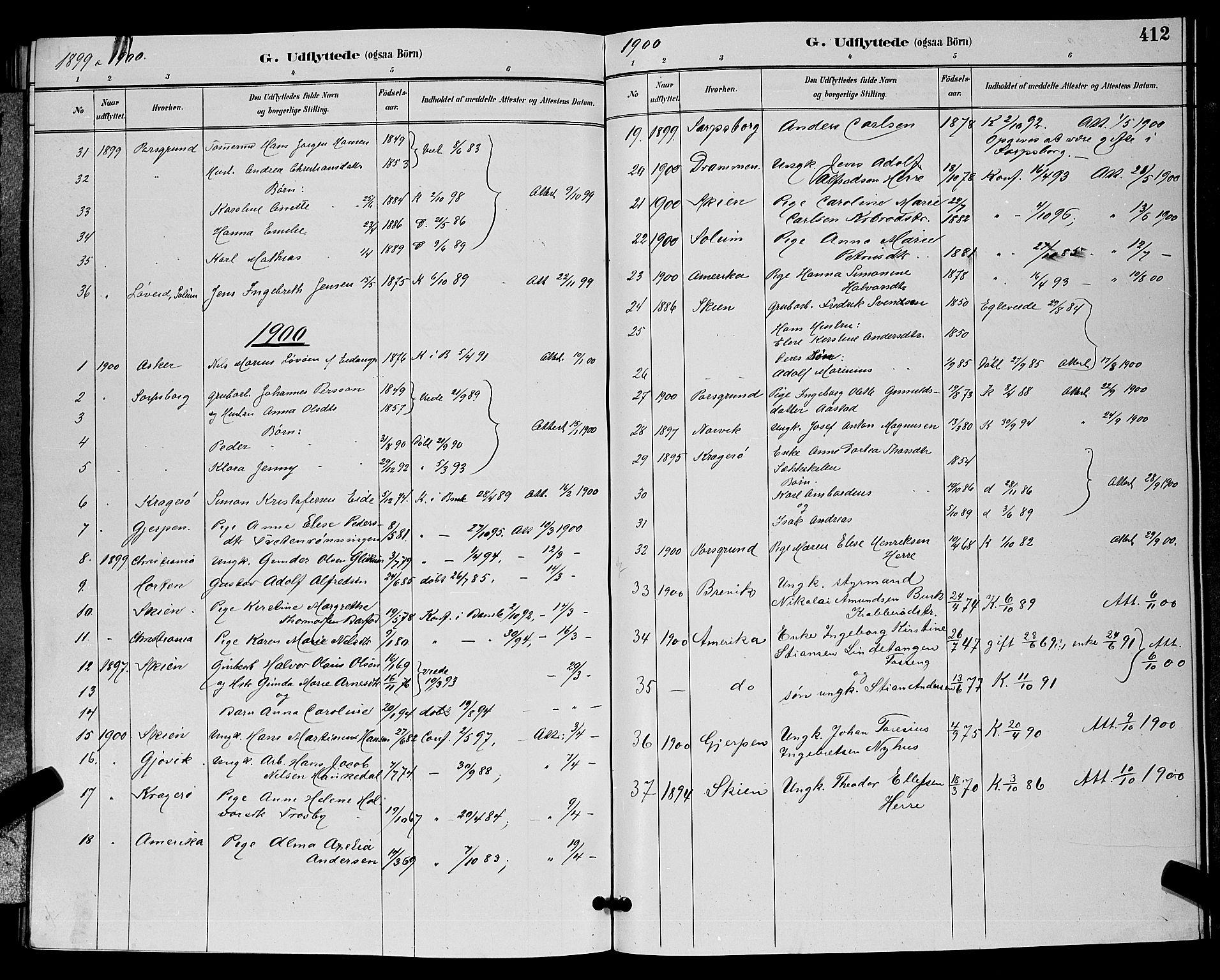 SAKO, Bamble kirkebøker, G/Ga/L0009: Klokkerbok nr. I 9, 1888-1900, s. 412