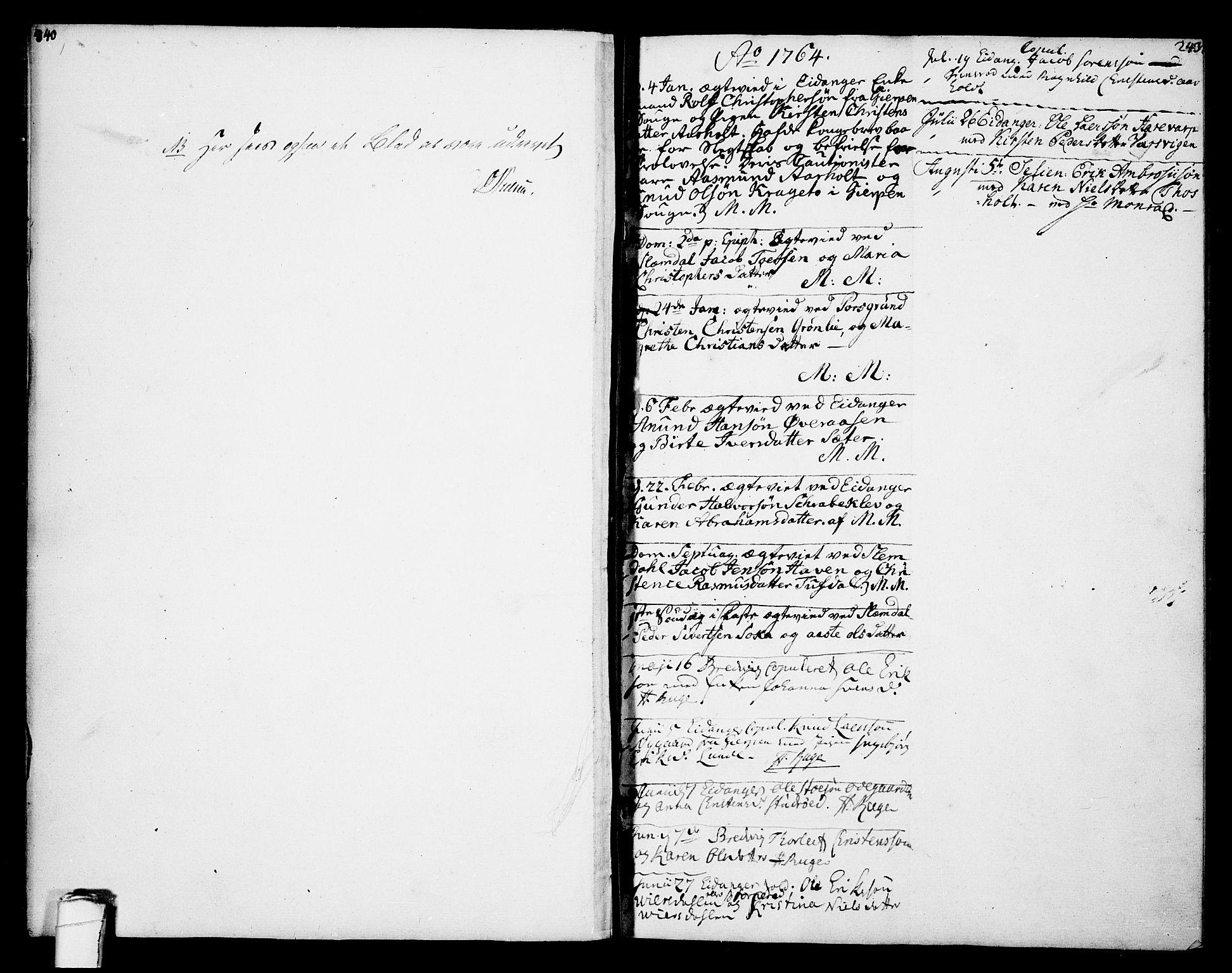 SAKO, Eidanger kirkebøker, F/Fa/L0005: Ministerialbok nr. 5, 1760-1764, s. 243