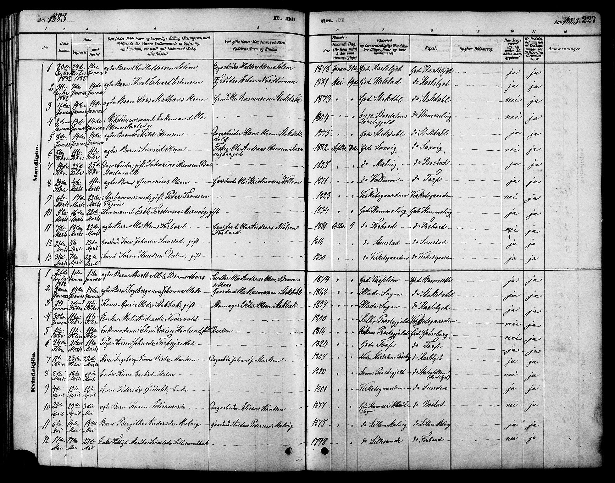 SAT, Ministerialprotokoller, klokkerbøker og fødselsregistre - Sør-Trøndelag, 616/L0423: Klokkerbok nr. 616C06, 1878-1903, s. 227