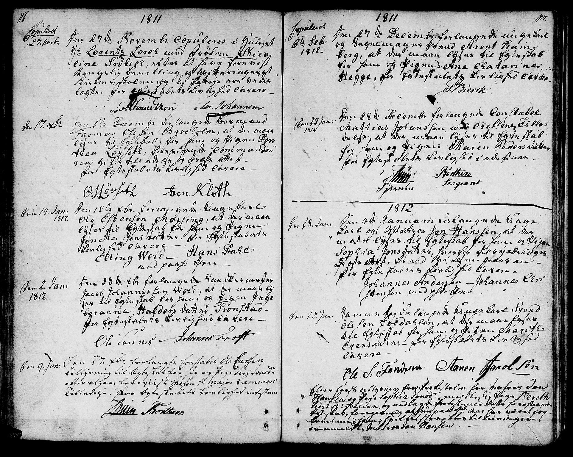SAT, Ministerialprotokoller, klokkerbøker og fødselsregistre - Sør-Trøndelag, 601/L0042: Ministerialbok nr. 601A10, 1802-1830, s. 116-117