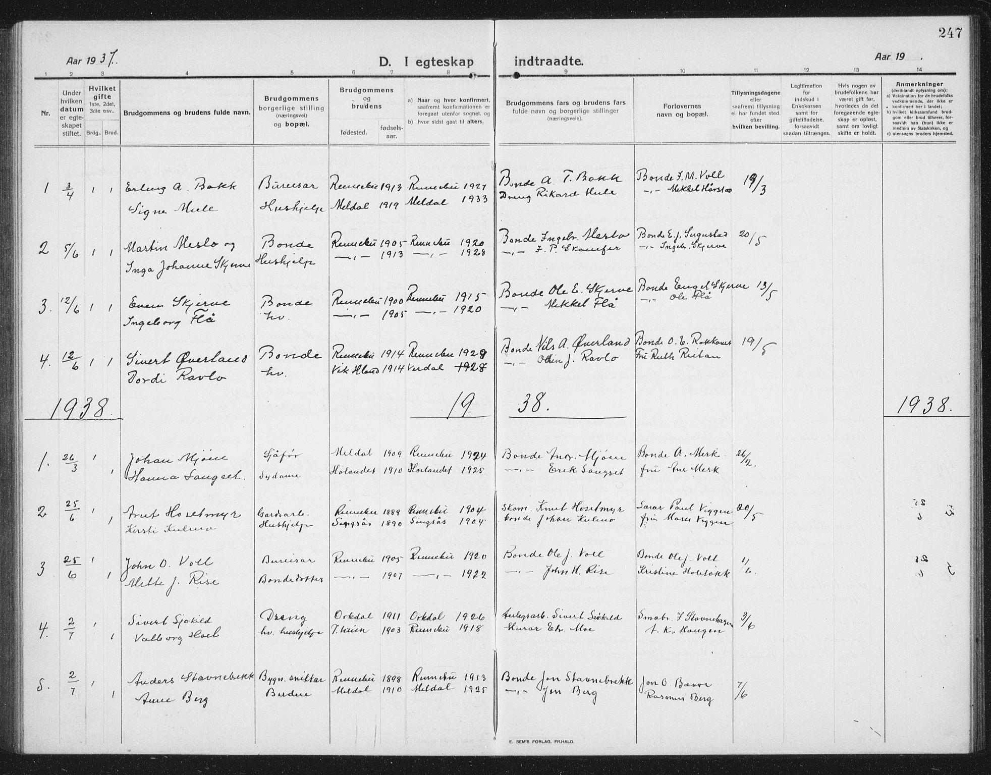 SAT, Ministerialprotokoller, klokkerbøker og fødselsregistre - Sør-Trøndelag, 674/L0877: Klokkerbok nr. 674C04, 1913-1940, s. 247