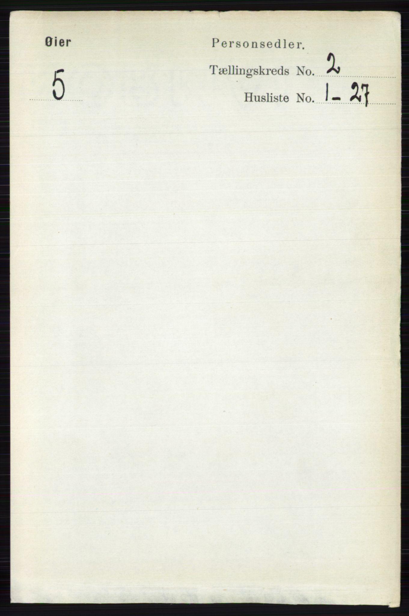 RA, Folketelling 1891 for 0521 Øyer herred, 1891, s. 482