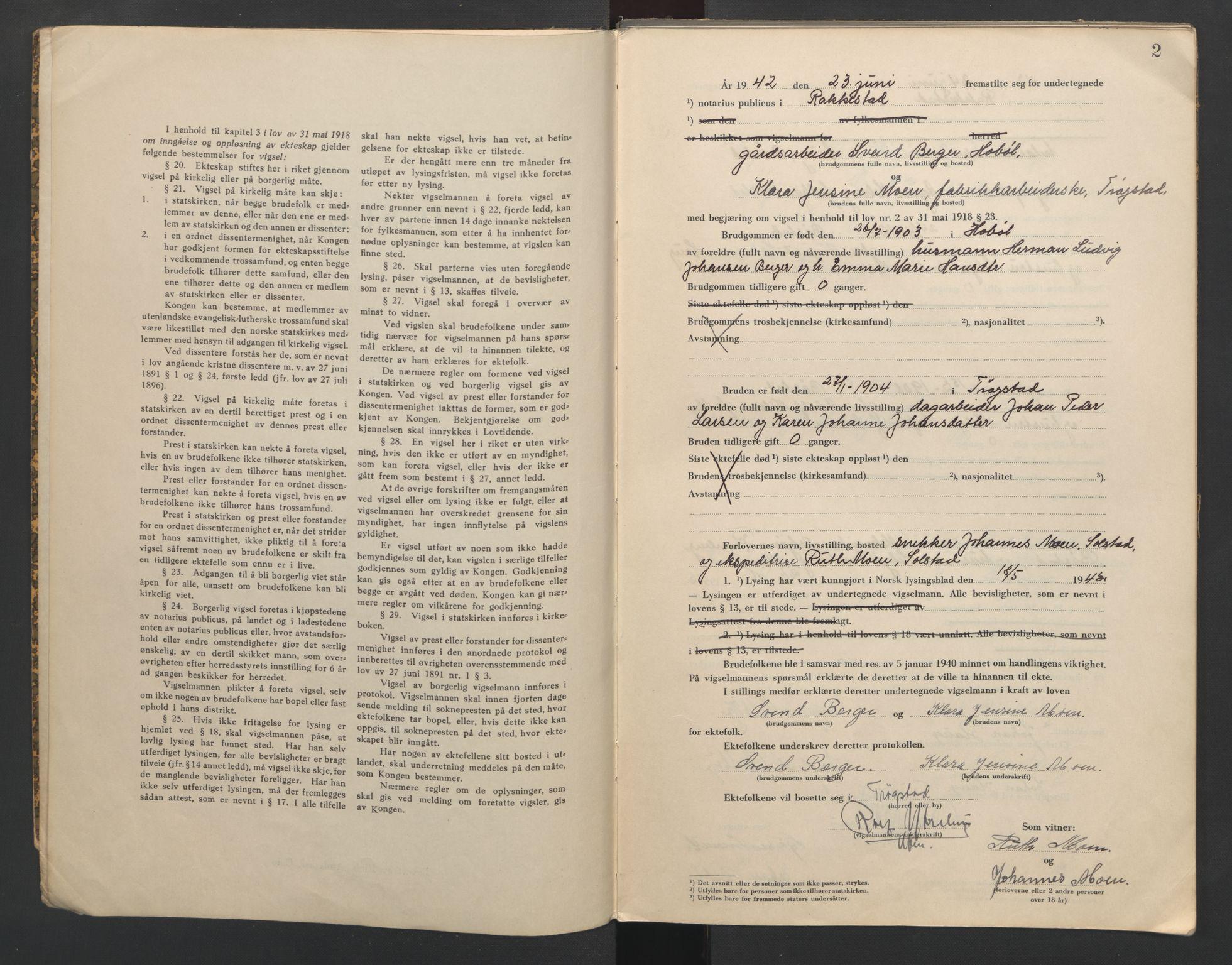 SAO, Rakkestad sorenskriveri, L/Lc/Lca/L0002: Vigselbøker, 1942-1943, s. 2