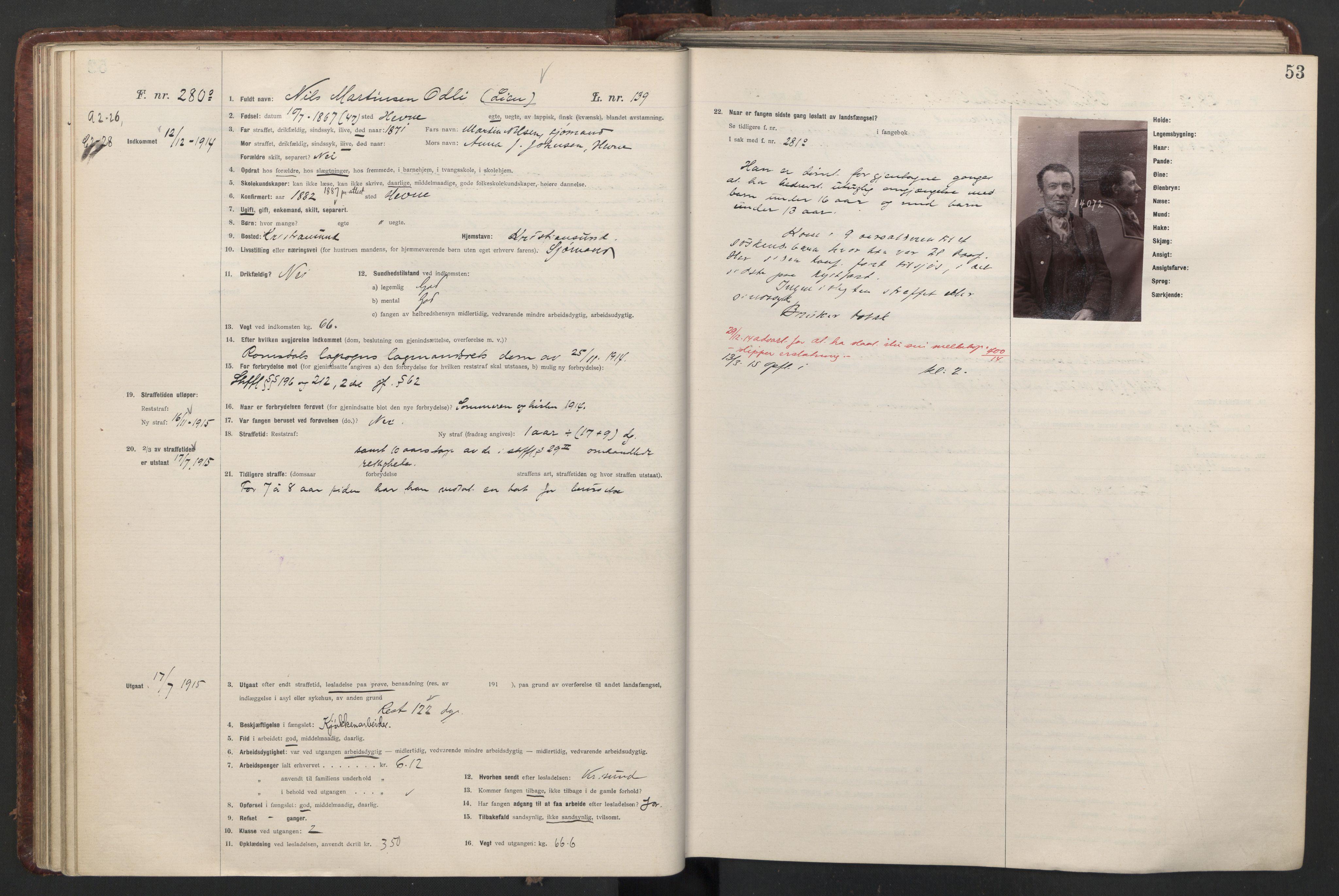 RA, Botsfengslet, D/Db/Dbb/L0047: 228o - 563o, 1914-1915, s. 53