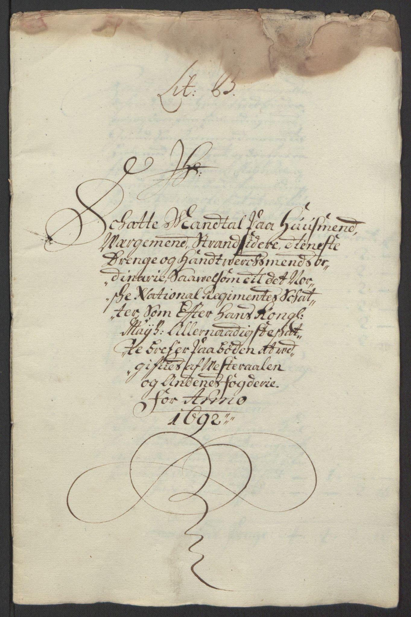 RA, Rentekammeret inntil 1814, Reviderte regnskaper, Fogderegnskap, R67/L4676: Fogderegnskap Vesterålen, Andenes og Lofoten, 1691-1693, s. 99