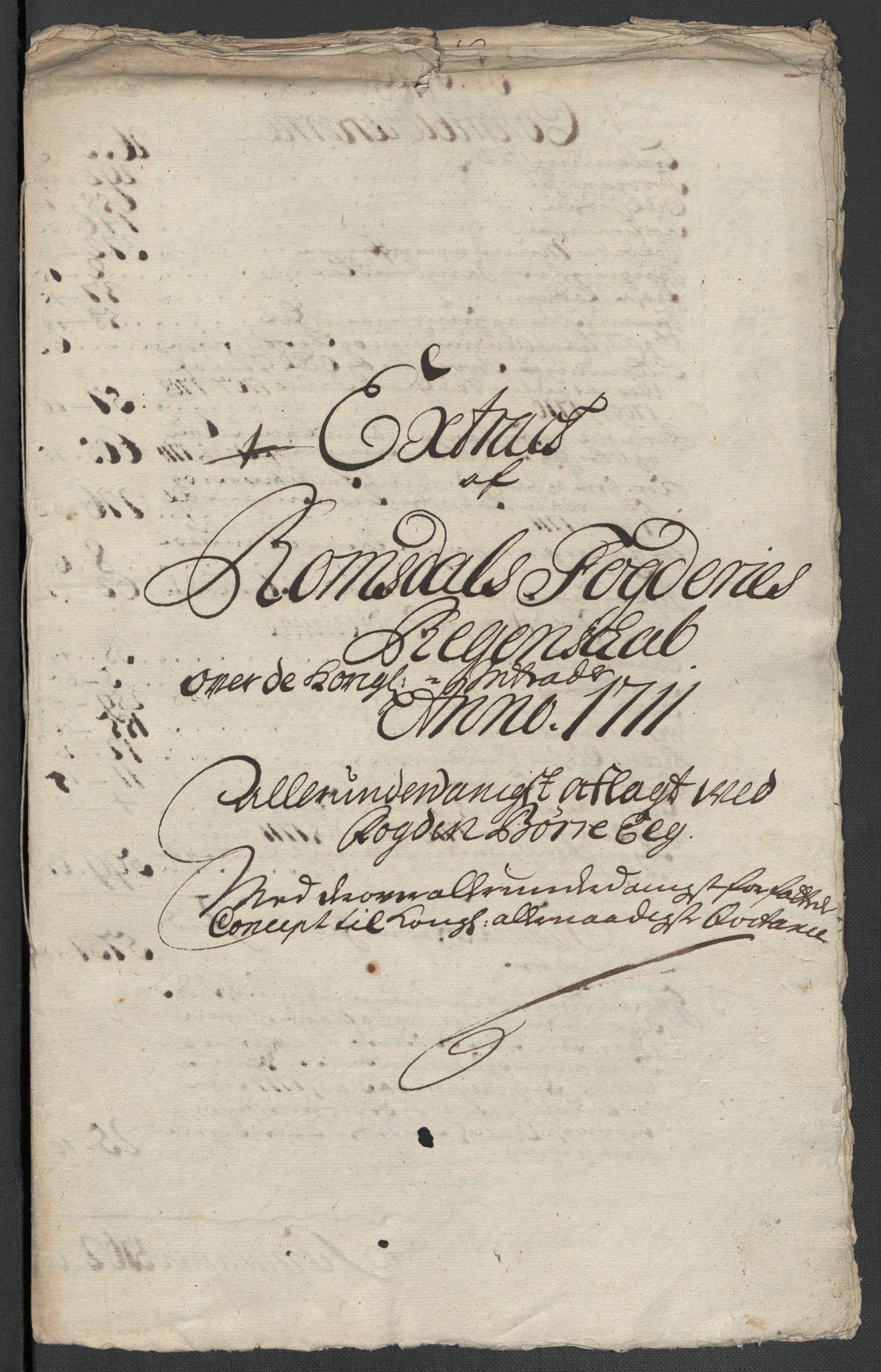 RA, Rentekammeret inntil 1814, Reviderte regnskaper, Fogderegnskap, R55/L3660: Fogderegnskap Romsdal, 1711, s. 482