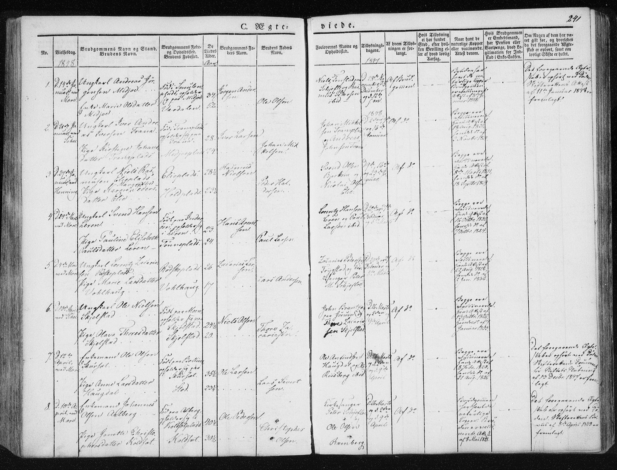 SAT, Ministerialprotokoller, klokkerbøker og fødselsregistre - Nord-Trøndelag, 735/L0339: Ministerialbok nr. 735A06 /1, 1836-1848, s. 241