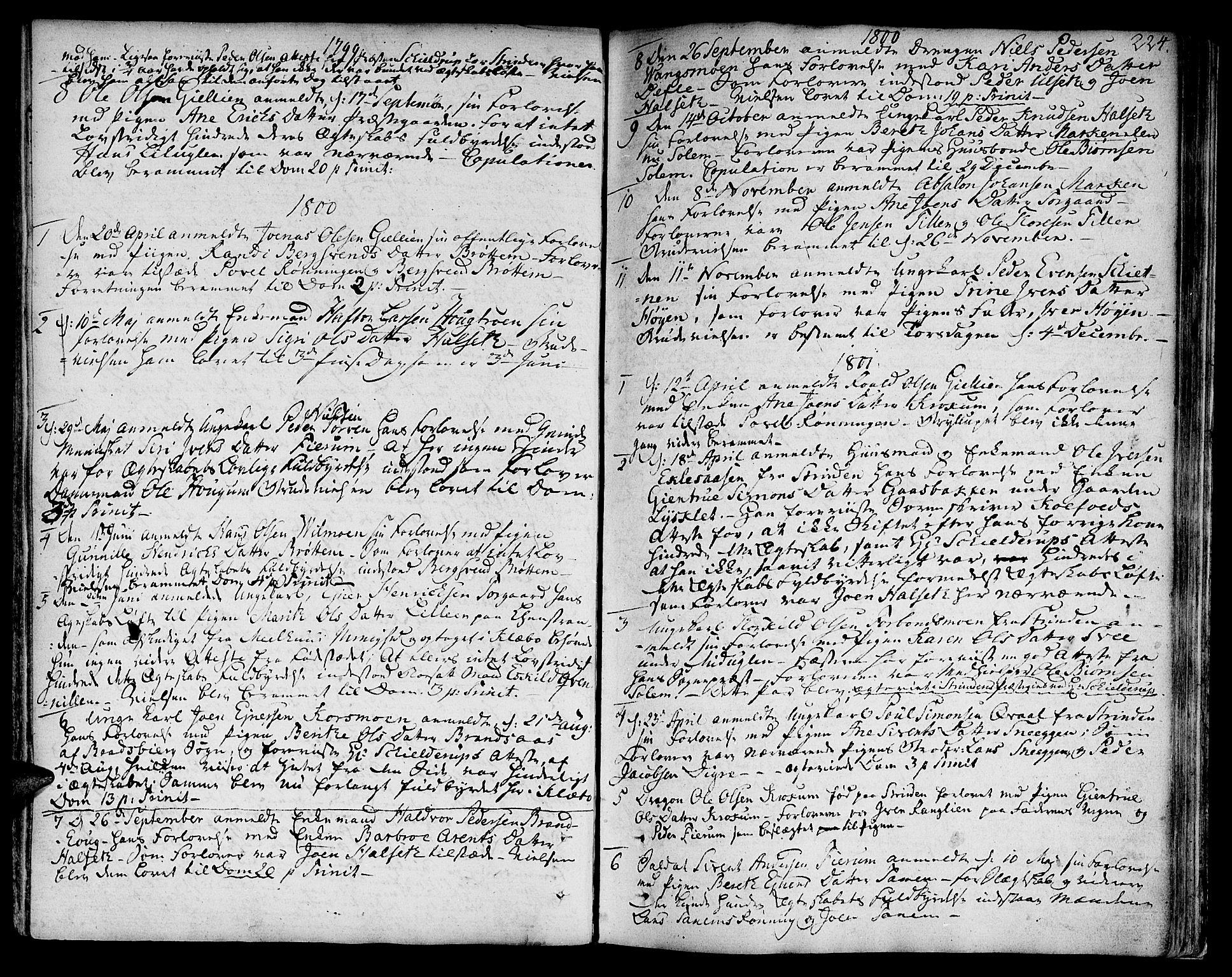 SAT, Ministerialprotokoller, klokkerbøker og fødselsregistre - Sør-Trøndelag, 618/L0438: Ministerialbok nr. 618A03, 1783-1815, s. 224