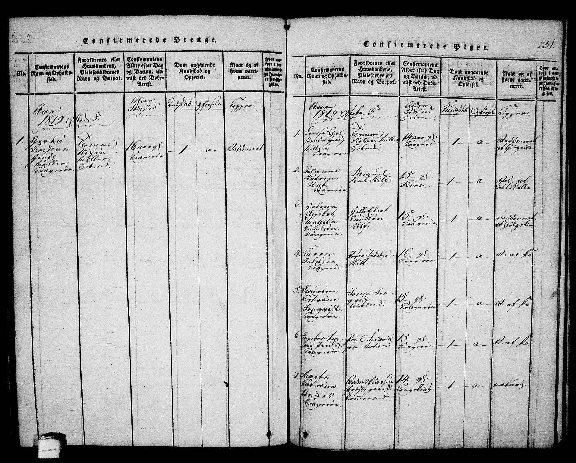 SAKO, Kragerø kirkebøker, G/Ga/L0002: Klokkerbok nr. 2, 1814-1831, s. 251