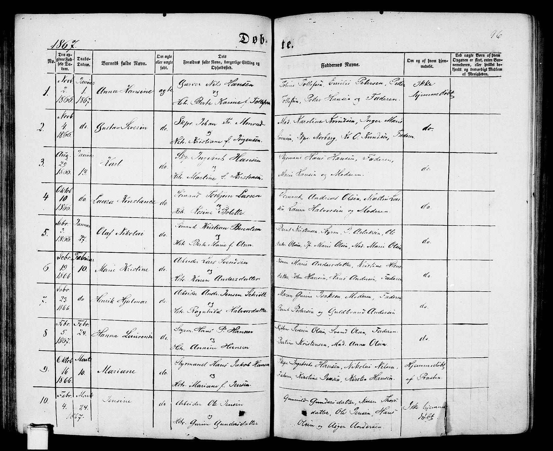 SAKO, Porsgrunn kirkebøker , G/Gb/L0004: Klokkerbok nr. II 4, 1853-1882, s. 96