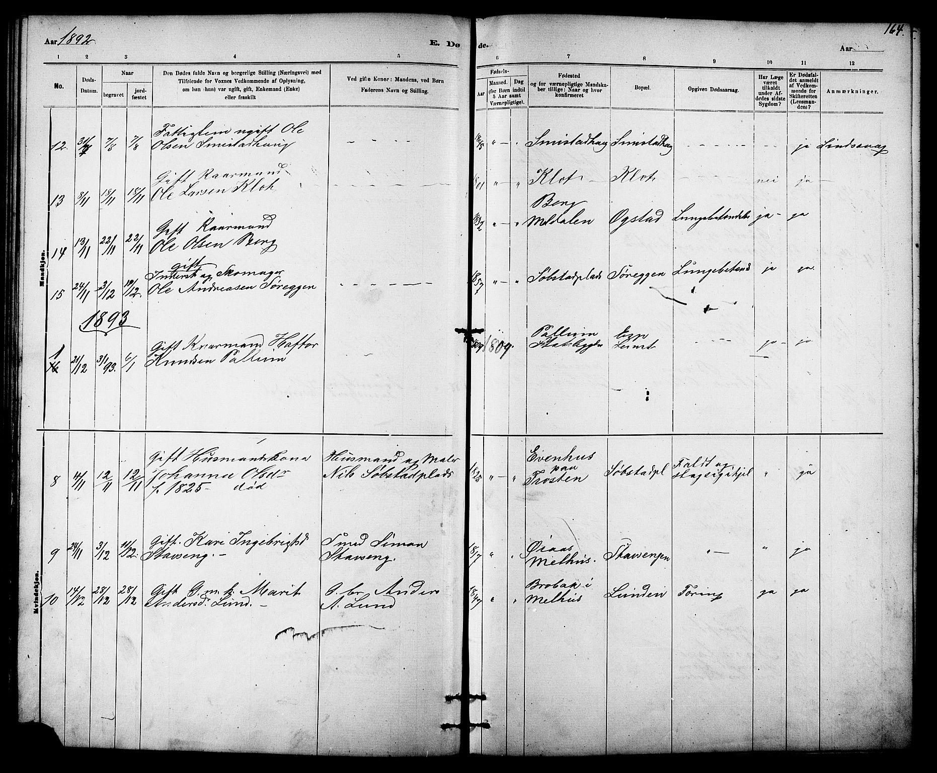 SAT, Ministerialprotokoller, klokkerbøker og fødselsregistre - Sør-Trøndelag, 613/L0395: Klokkerbok nr. 613C03, 1887-1909, s. 164