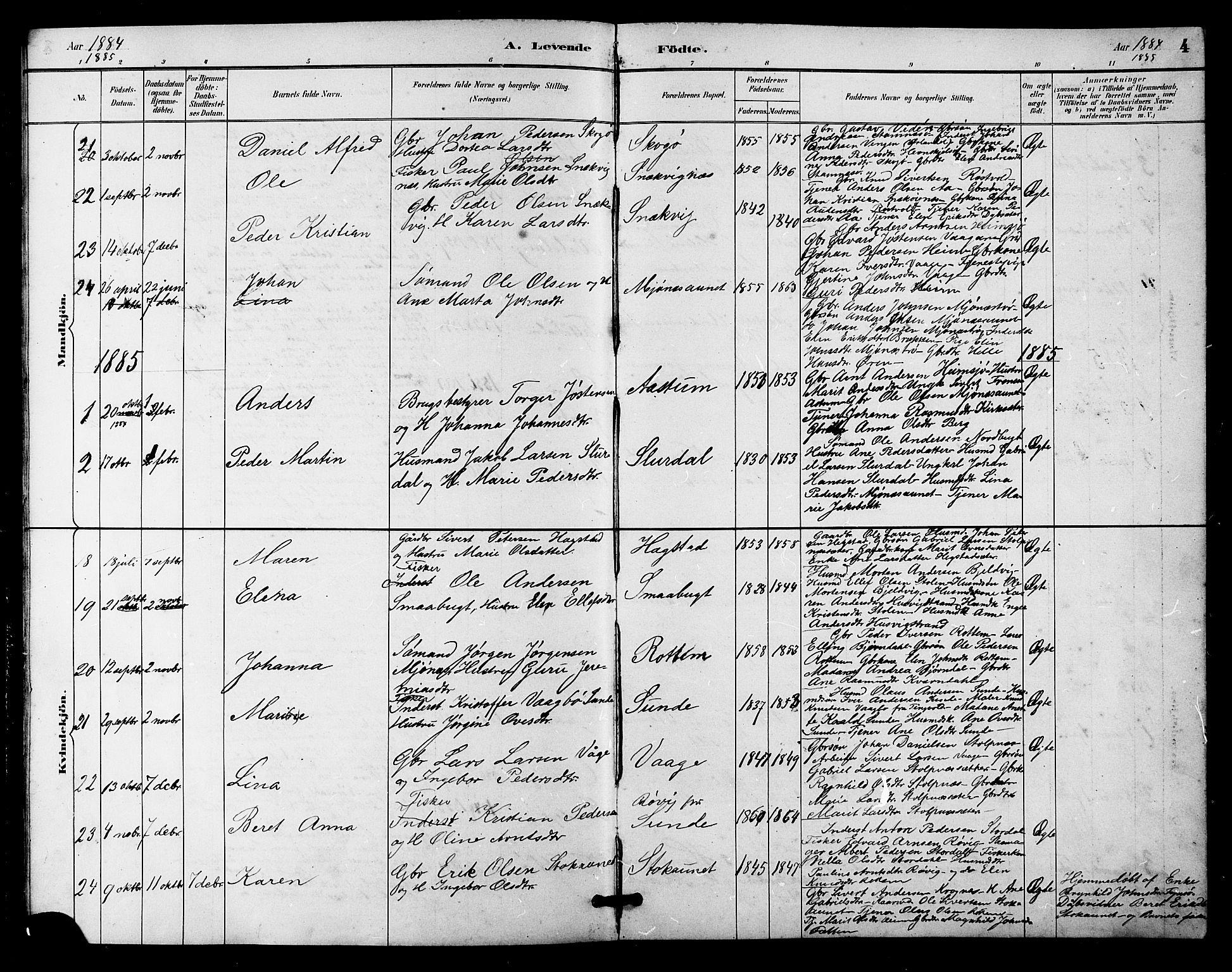 SAT, Ministerialprotokoller, klokkerbøker og fødselsregistre - Sør-Trøndelag, 633/L0519: Klokkerbok nr. 633C01, 1884-1905, s. 4