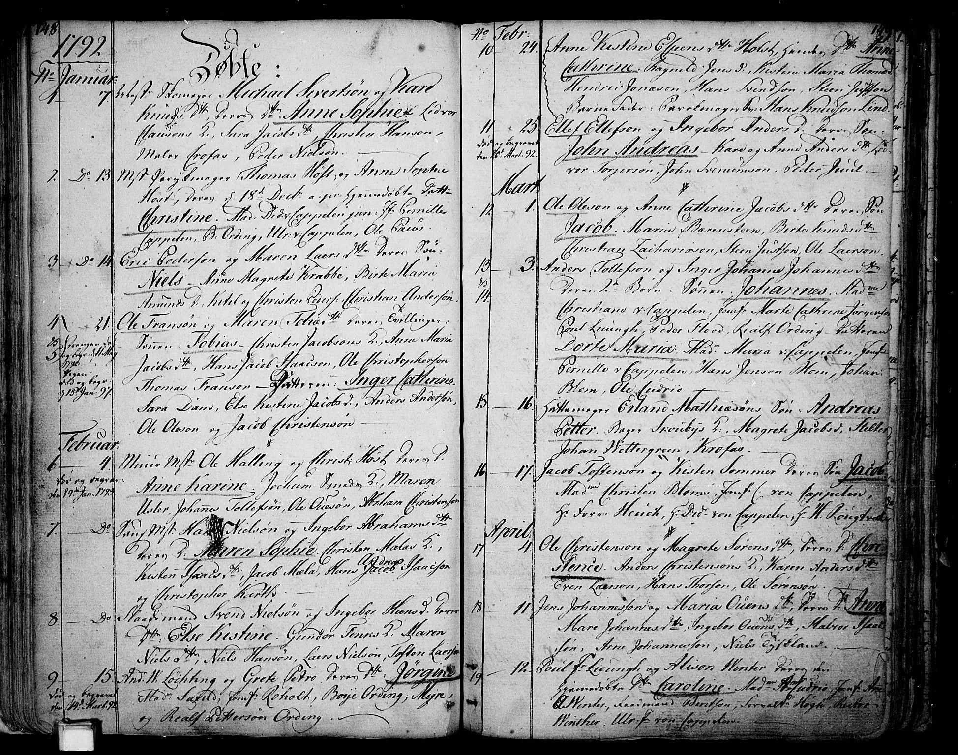 SAKO, Skien kirkebøker, F/Fa/L0004: Ministerialbok nr. 4, 1792-1814, s. 148-149