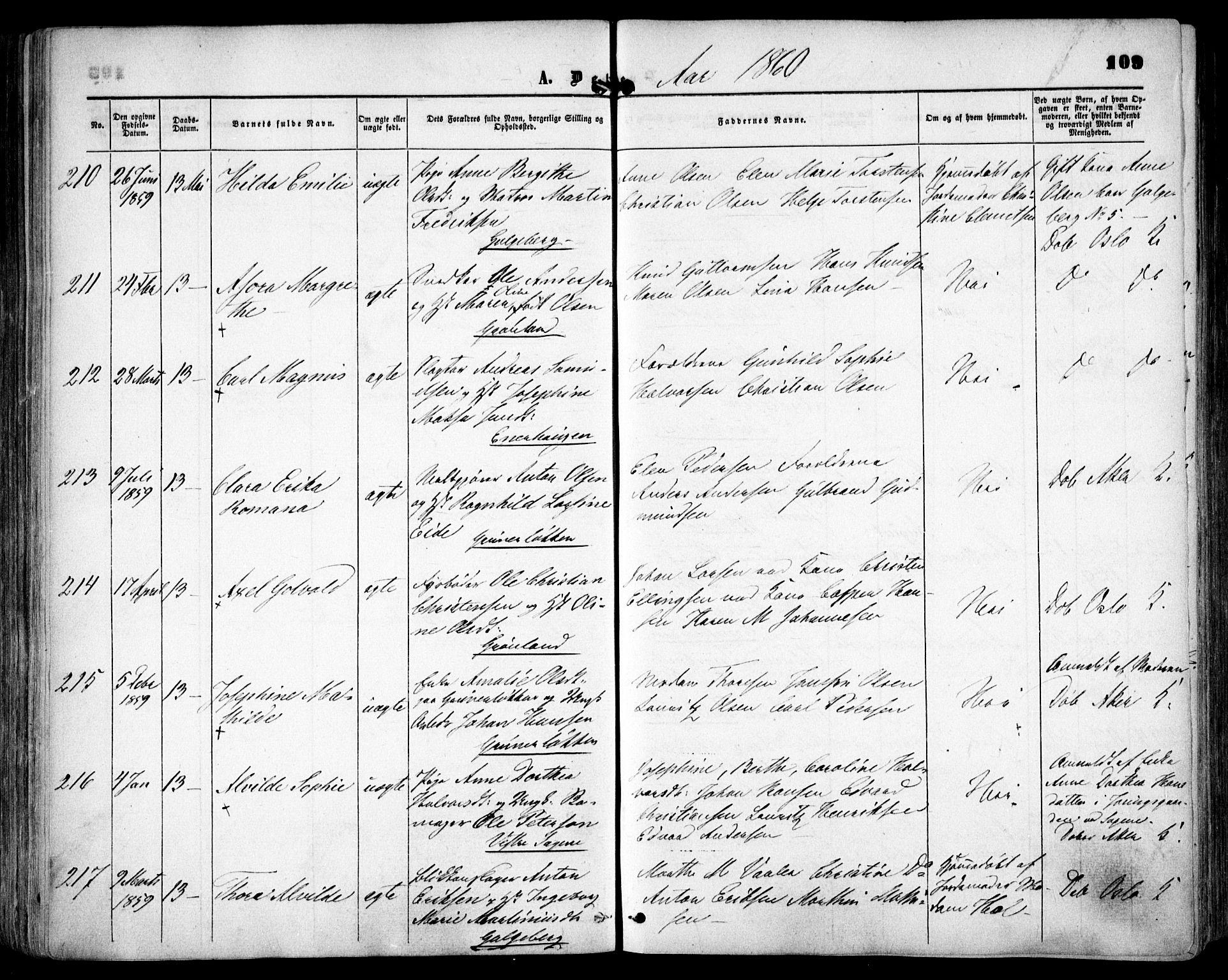 SAO, Grønland prestekontor Kirkebøker, F/Fa/L0001: Ministerialbok nr. 1, 1859-1861, s. 109