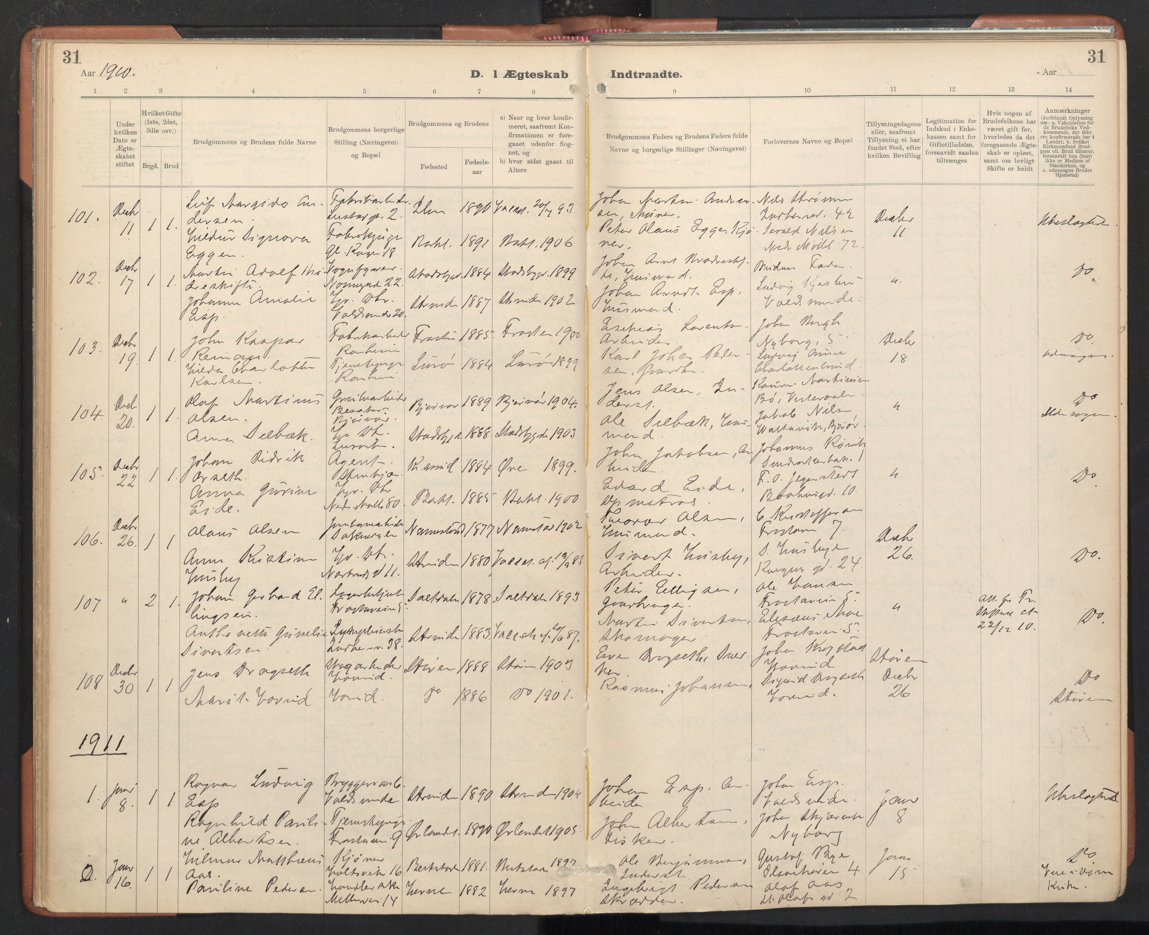 SAT, Ministerialprotokoller, klokkerbøker og fødselsregistre - Sør-Trøndelag, 605/L0244: Ministerialbok nr. 605A06, 1908-1954, s. 31