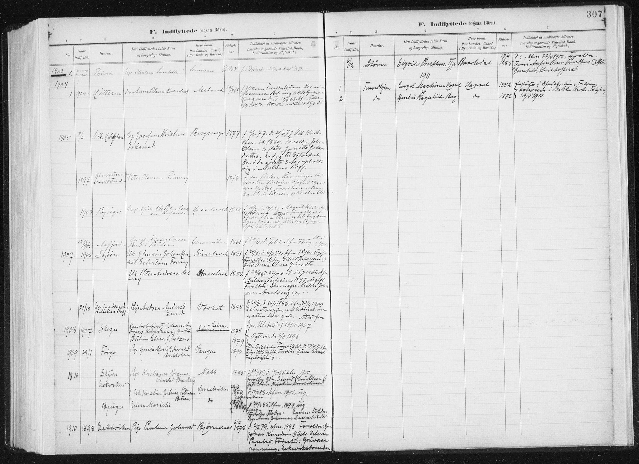 SAT, Ministerialprotokoller, klokkerbøker og fødselsregistre - Sør-Trøndelag, 647/L0635: Ministerialbok nr. 647A02, 1896-1911, s. 307