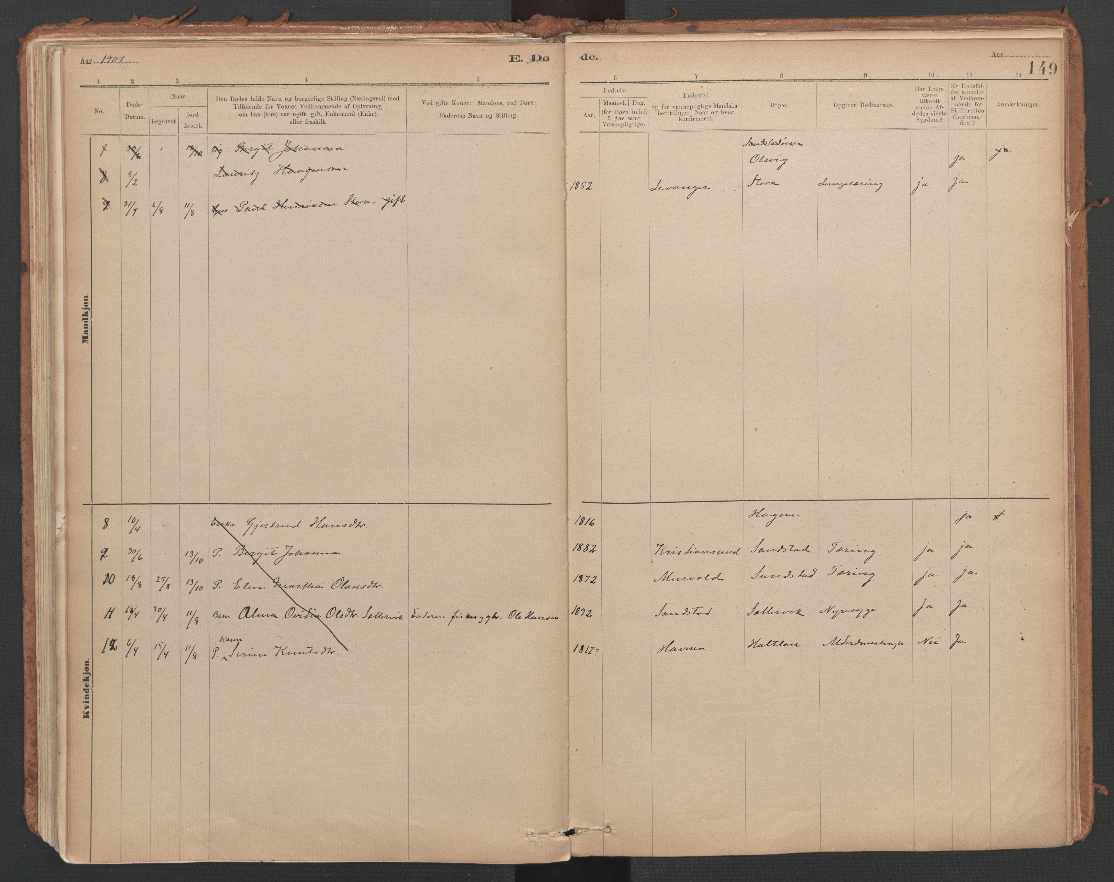 SAT, Ministerialprotokoller, klokkerbøker og fødselsregistre - Sør-Trøndelag, 639/L0572: Ministerialbok nr. 639A01, 1890-1920, s. 149