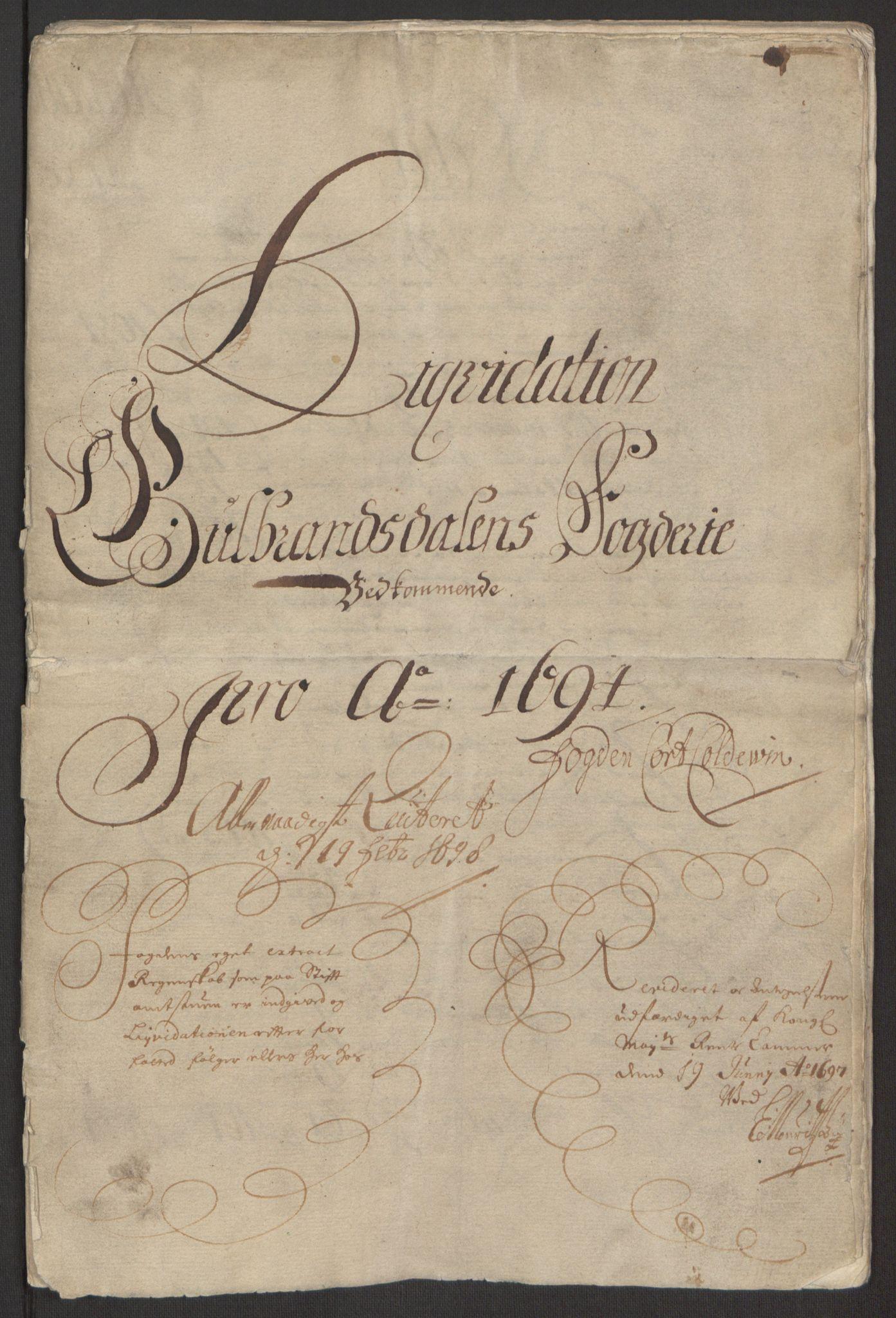 RA, Rentekammeret inntil 1814, Reviderte regnskaper, Fogderegnskap, R17/L1168: Fogderegnskap Gudbrandsdal, 1694, s. 3