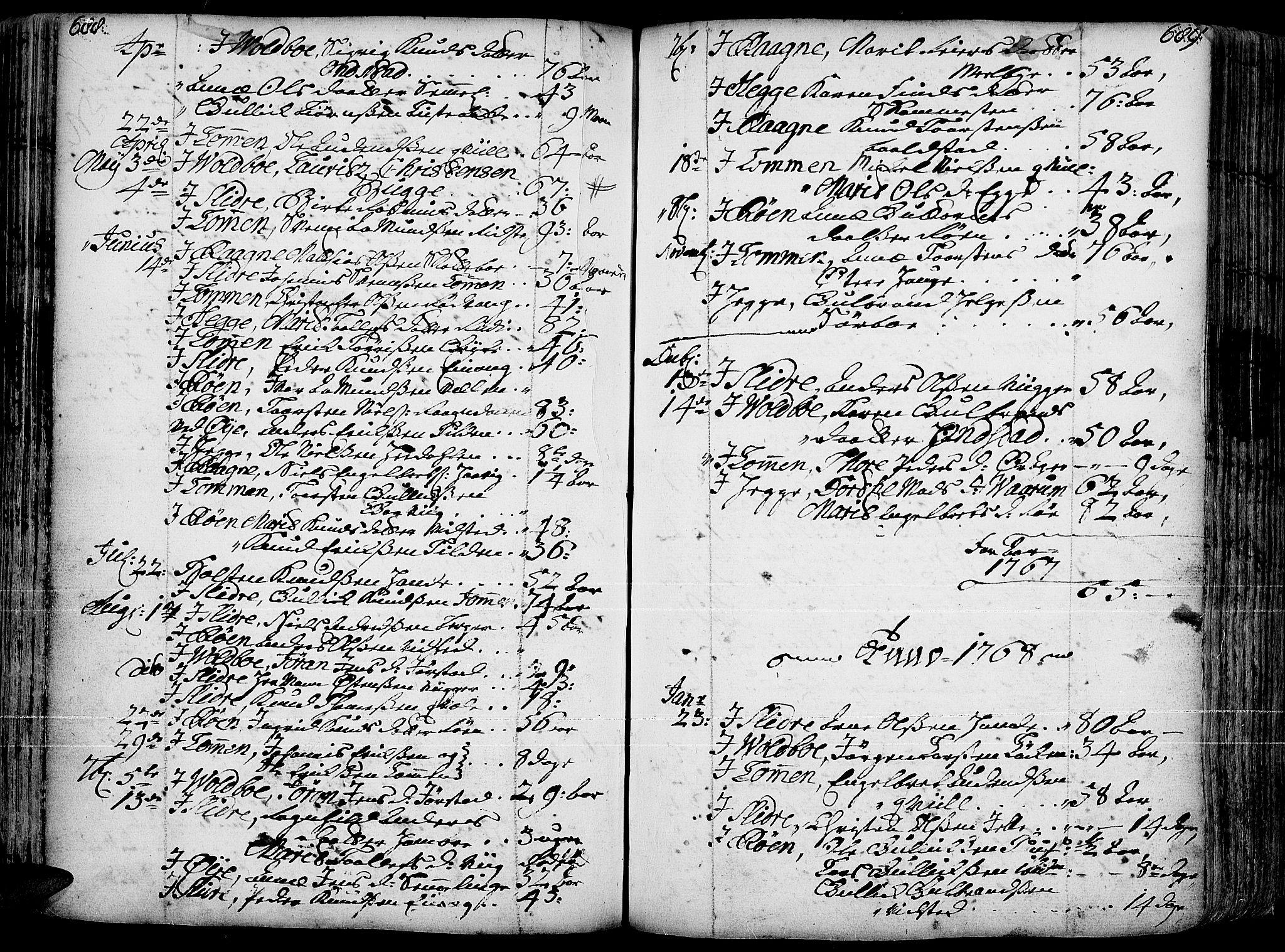 SAH, Slidre prestekontor, Ministerialbok nr. 1, 1724-1814, s. 688-689