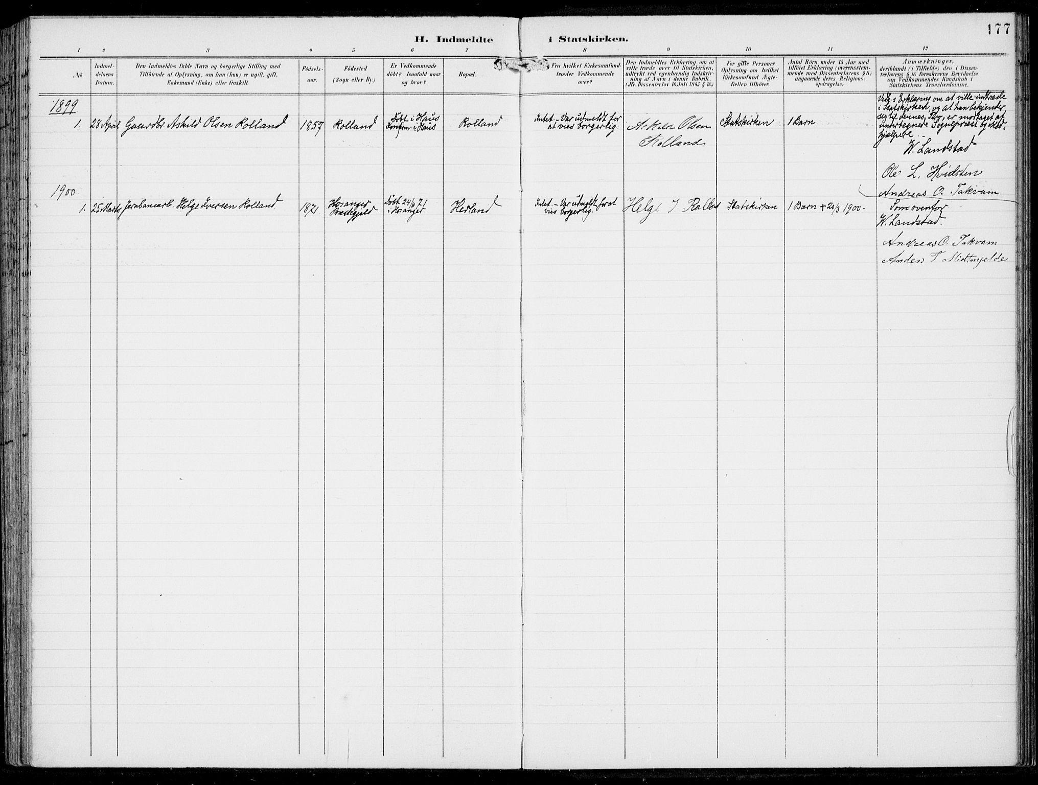 SAB, Haus Sokneprestembete, H/Haa: Ministerialbok nr. B  2, 1899-1912, s. 177