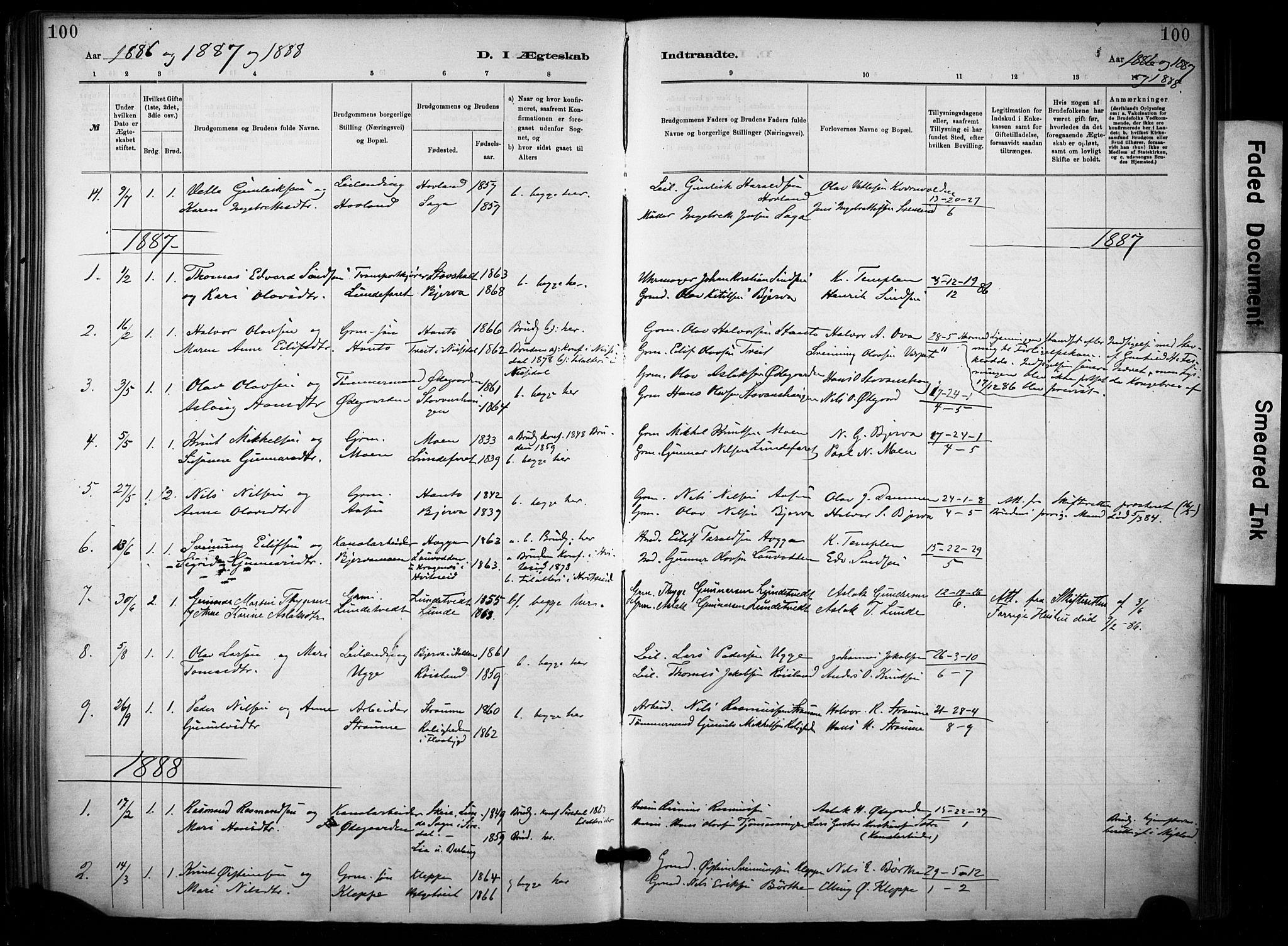 SAKO, Lunde kirkebøker, F/Fa/L0002: Ministerialbok nr. I 2, 1884-1892, s. 100