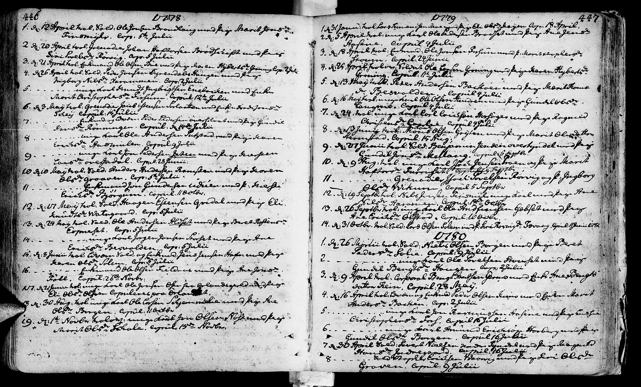 SAT, Ministerialprotokoller, klokkerbøker og fødselsregistre - Sør-Trøndelag, 646/L0605: Ministerialbok nr. 646A03, 1751-1790, s. 446-447