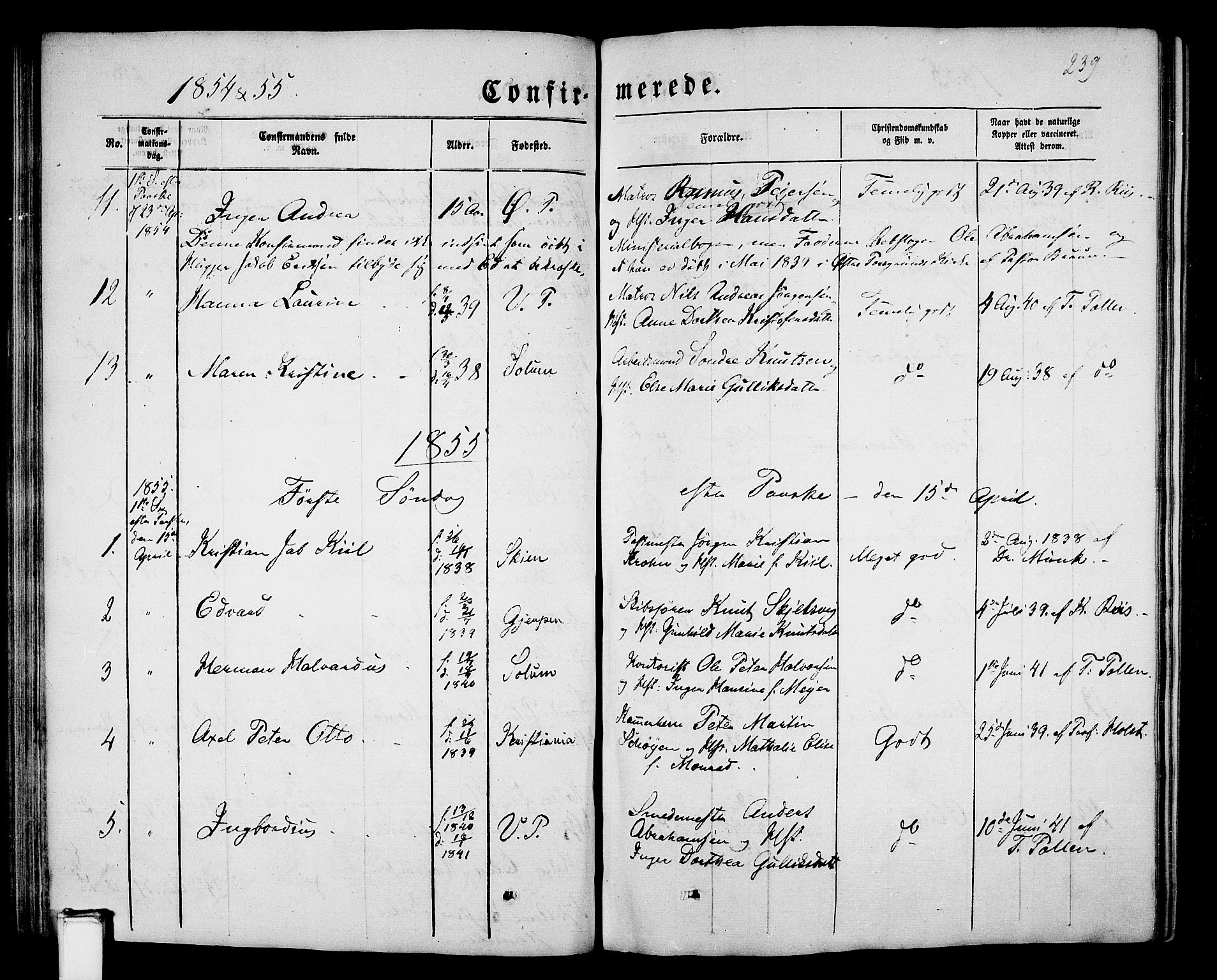 SAKO, Porsgrunn kirkebøker , G/Gb/L0004: Klokkerbok nr. II 4, 1853-1882, s. 239