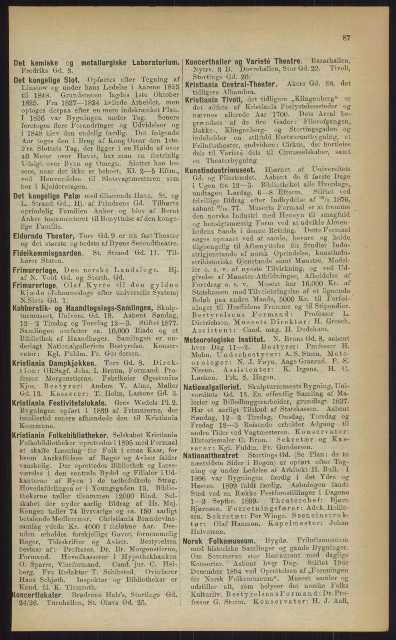 RA, Kristiania adressebok (publikasjon)*, 1903, s. 87