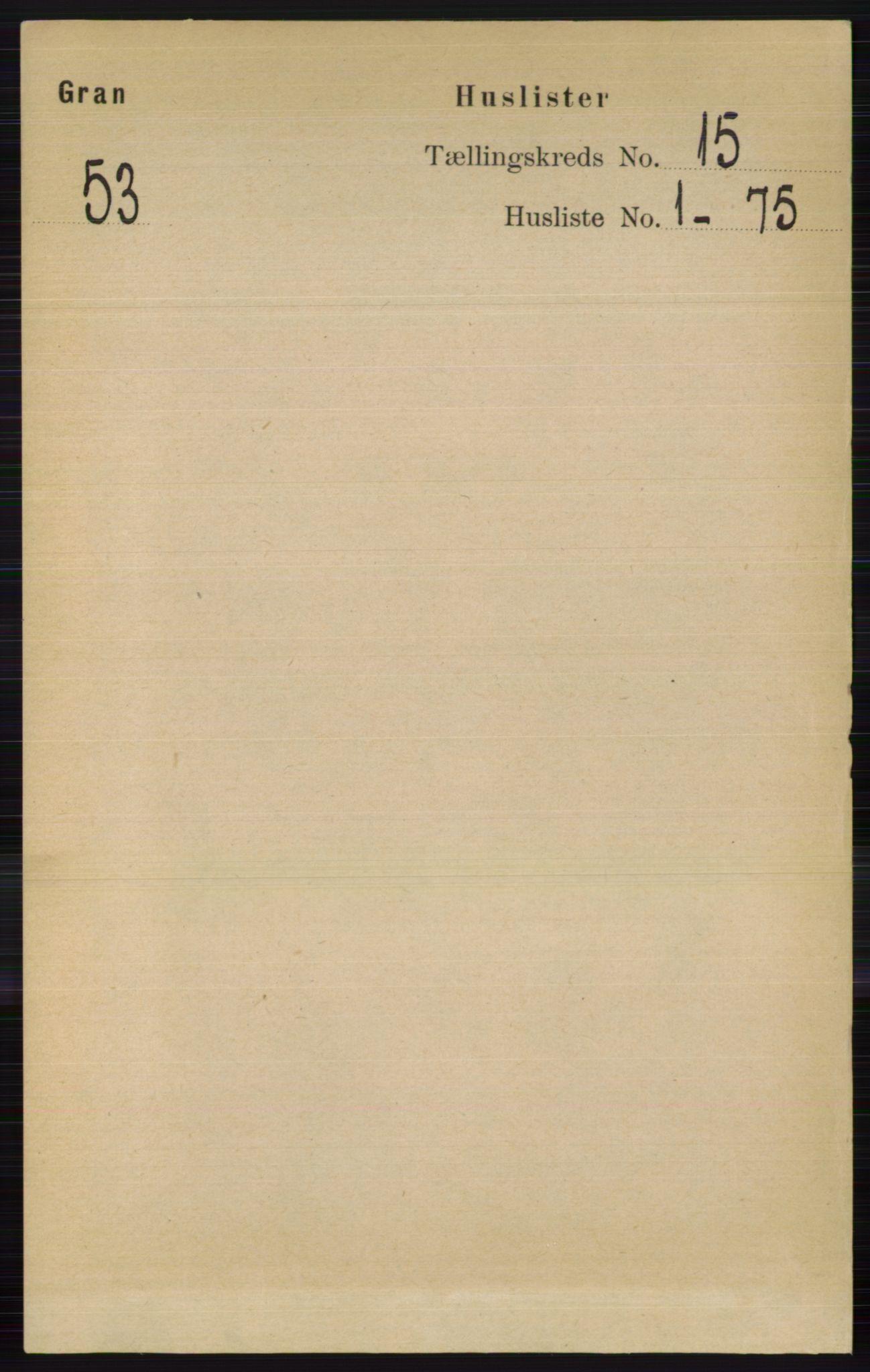 RA, Folketelling 1891 for 0534 Gran herred, 1891, s. 7540