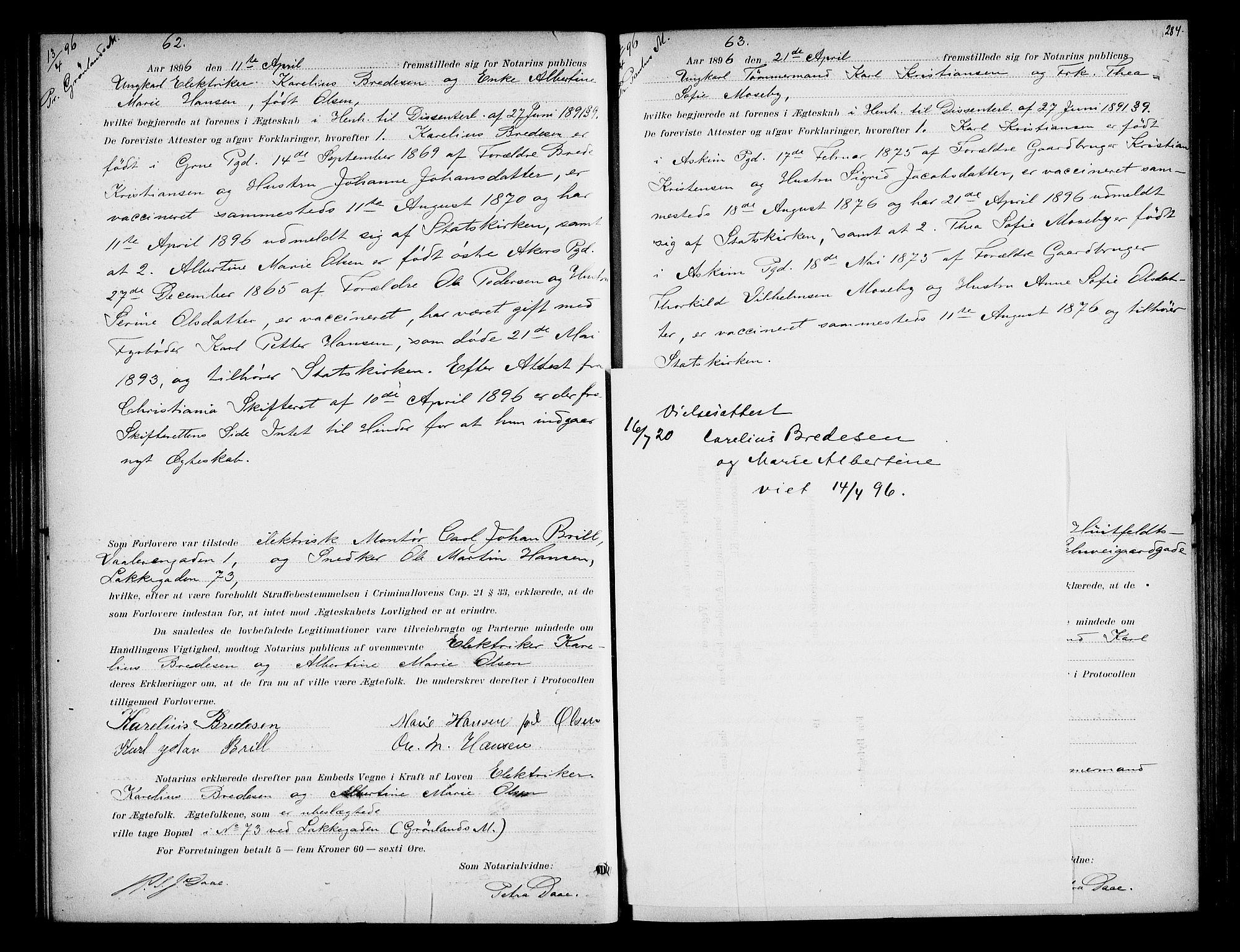 SAO, Oslo byfogd avd. I, L/Lb/Lbb/L0002: Notarialprotokoll, rekke II: Vigsler, 1893-1897, s. 283b-284a