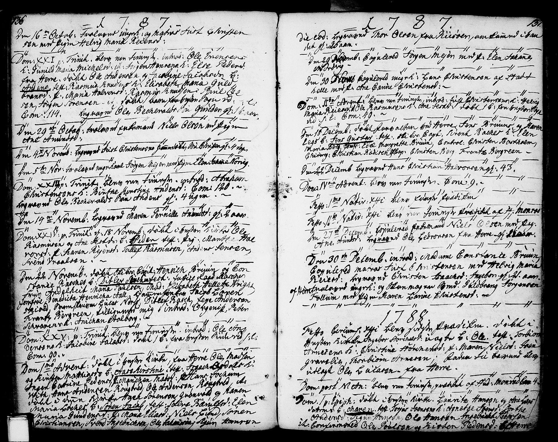 SAKO, Porsgrunn kirkebøker , F/Fa/L0002: Ministerialbok nr. 2, 1764-1814, s. 136-137