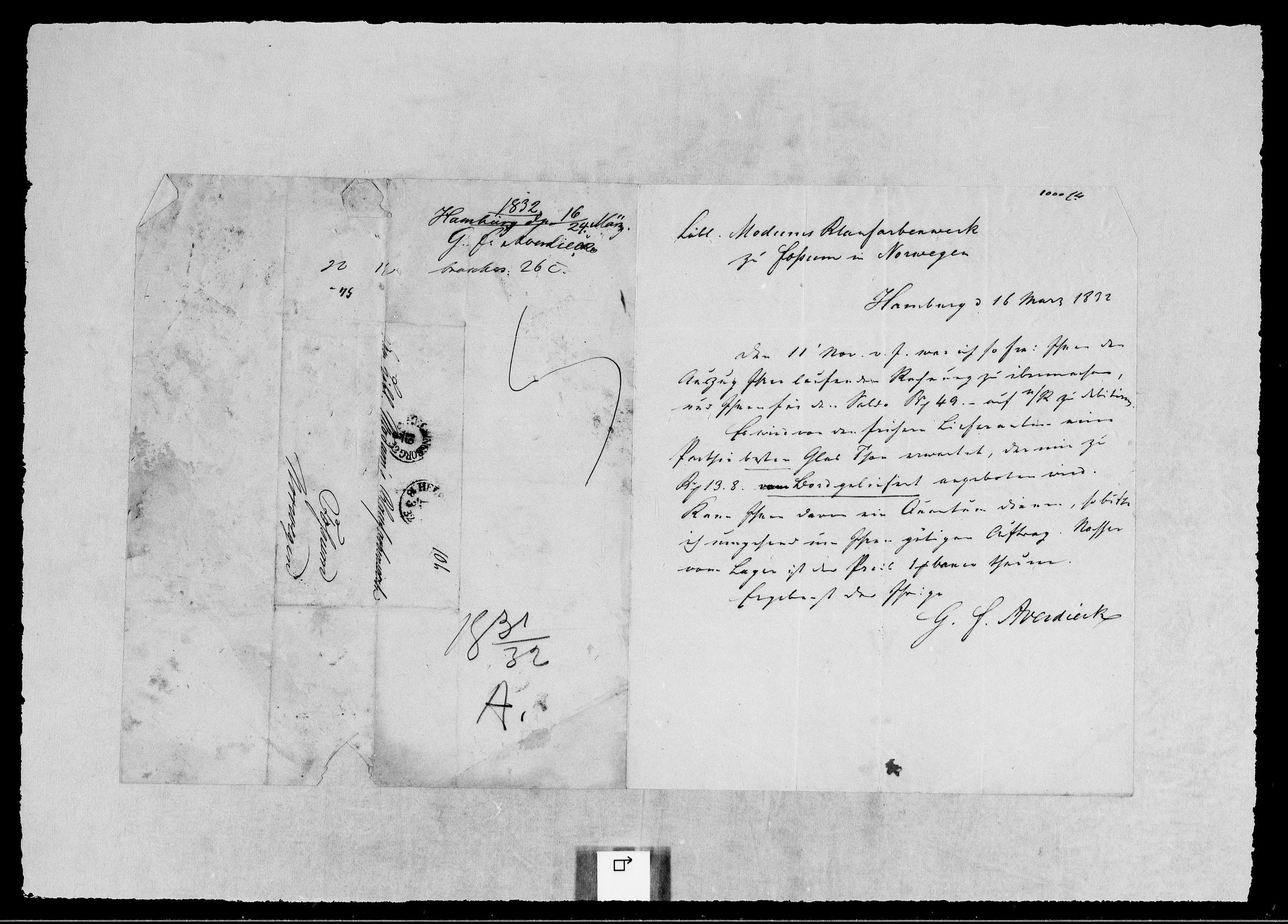 RA, Modums Blaafarveværk, G/Gb/L0107, 1831-1832, s. 2