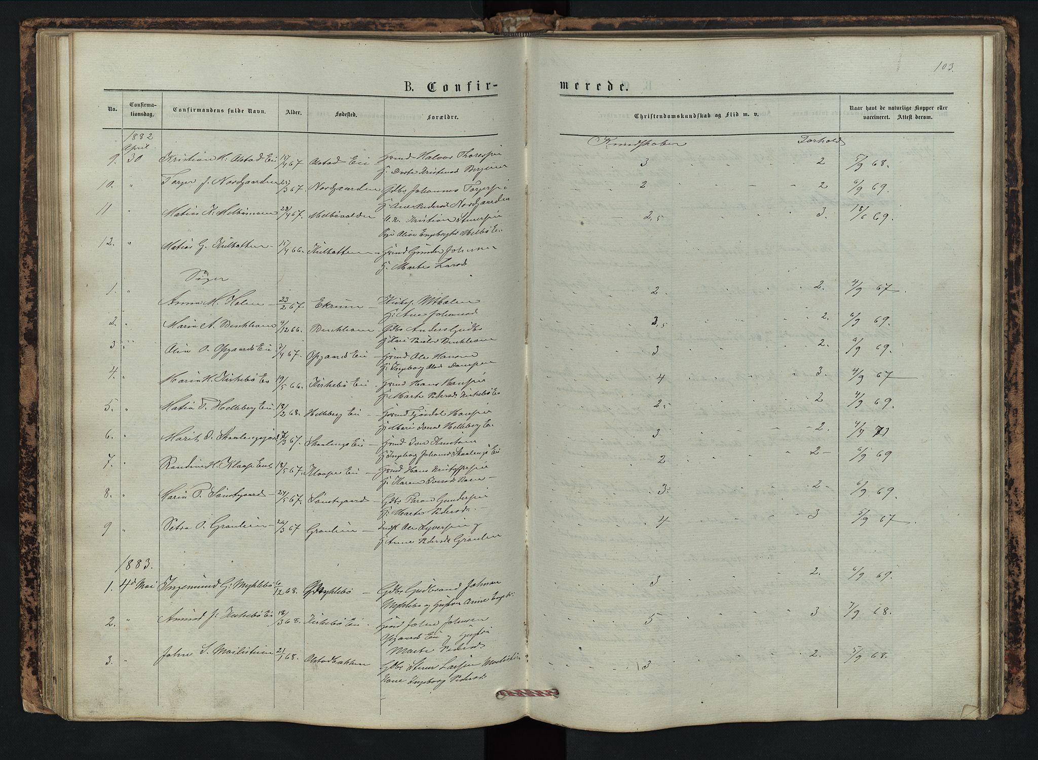 SAH, Vestre Gausdal prestekontor, Klokkerbok nr. 2, 1874-1897, s. 103