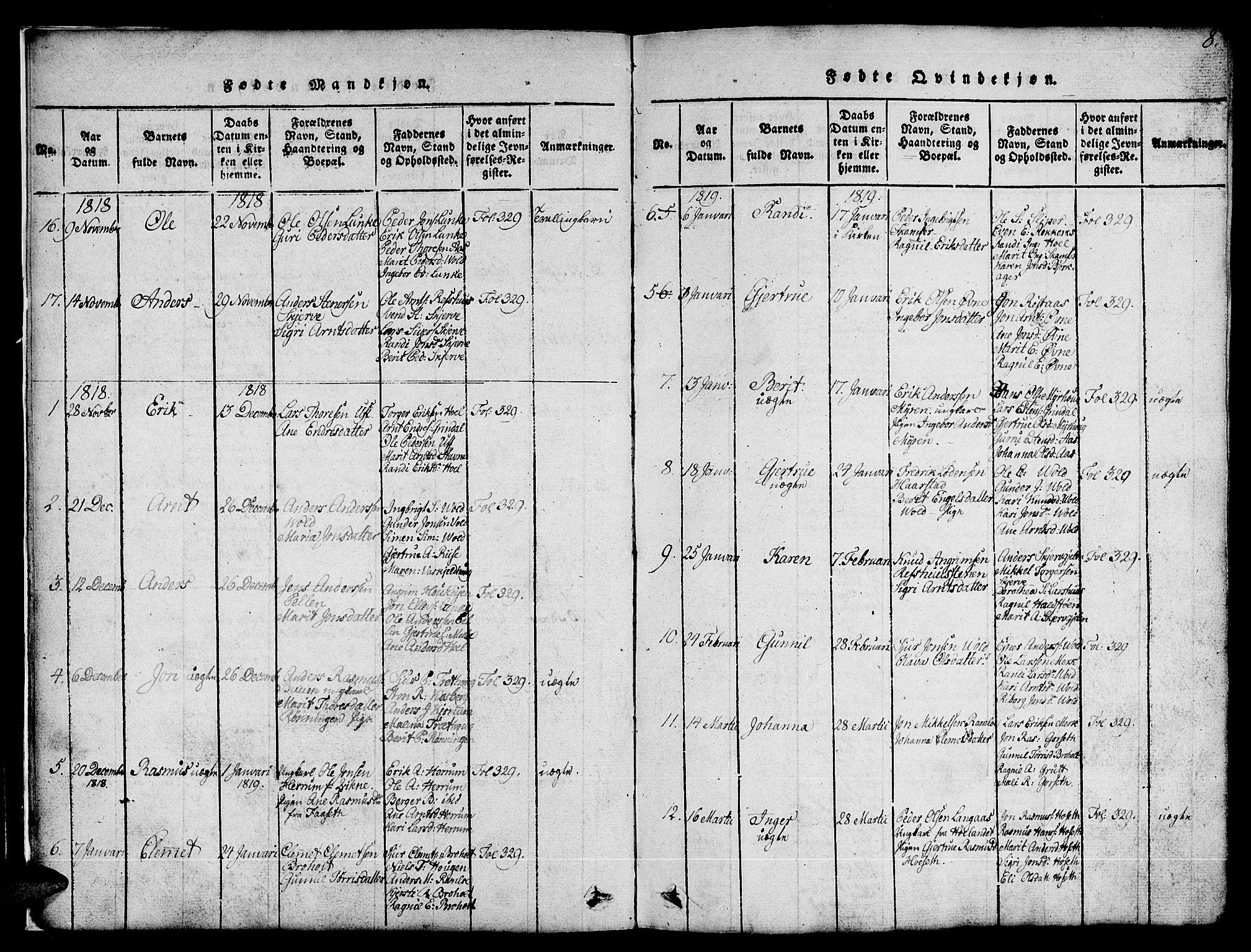 SAT, Ministerialprotokoller, klokkerbøker og fødselsregistre - Sør-Trøndelag, 674/L0874: Klokkerbok nr. 674C01, 1816-1860, s. 8