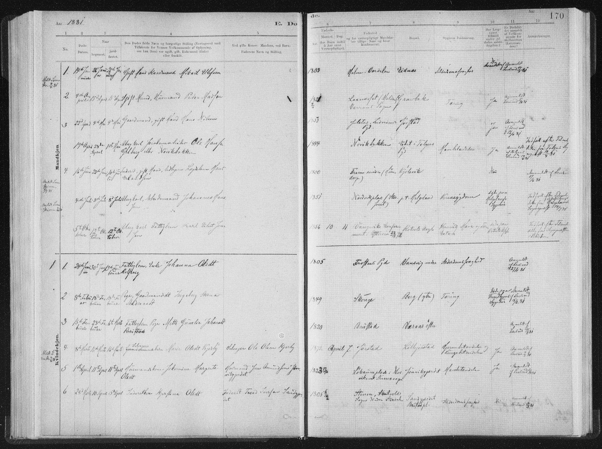 SAT, Ministerialprotokoller, klokkerbøker og fødselsregistre - Nord-Trøndelag, 722/L0220: Ministerialbok nr. 722A07, 1881-1908, s. 170