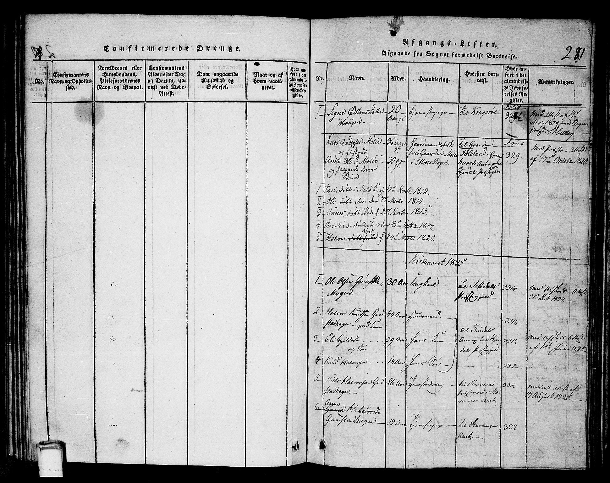 SAKO, Tinn kirkebøker, G/Gb/L0001: Klokkerbok nr. II 1 /1, 1815-1850, s. 281