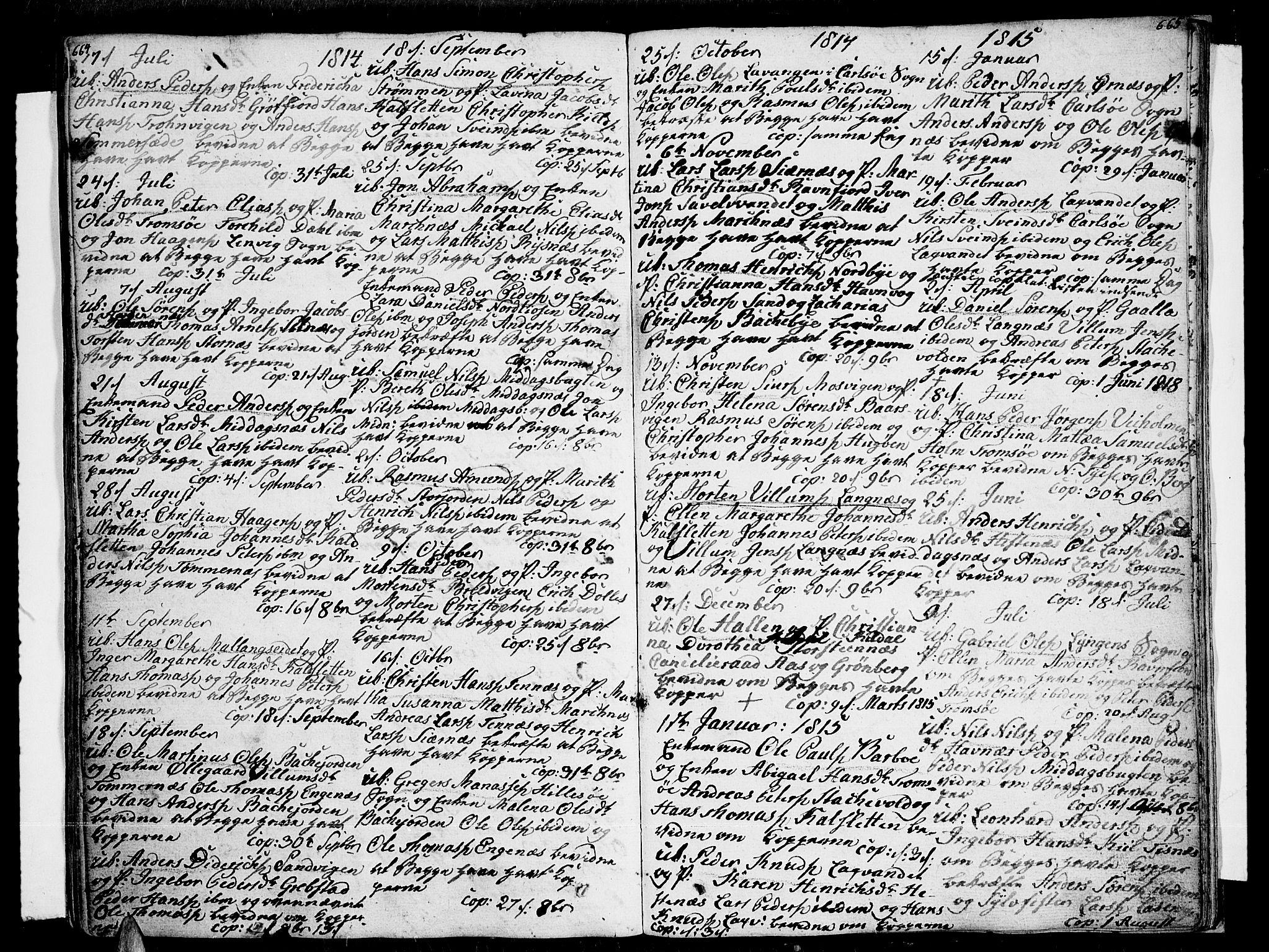 SATØ, Tromsø sokneprestkontor/stiftsprosti/domprosti, G/Ga/L0006kirke: Ministerialbok nr. 6, 1806-1821, s. 664-665