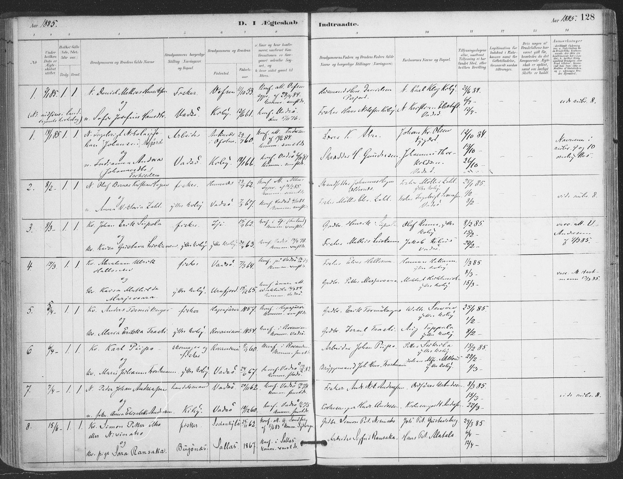 SATØ, Vadsø sokneprestkontor, H/Ha/L0006kirke: Ministerialbok nr. 6, 1885-1895, s. 128