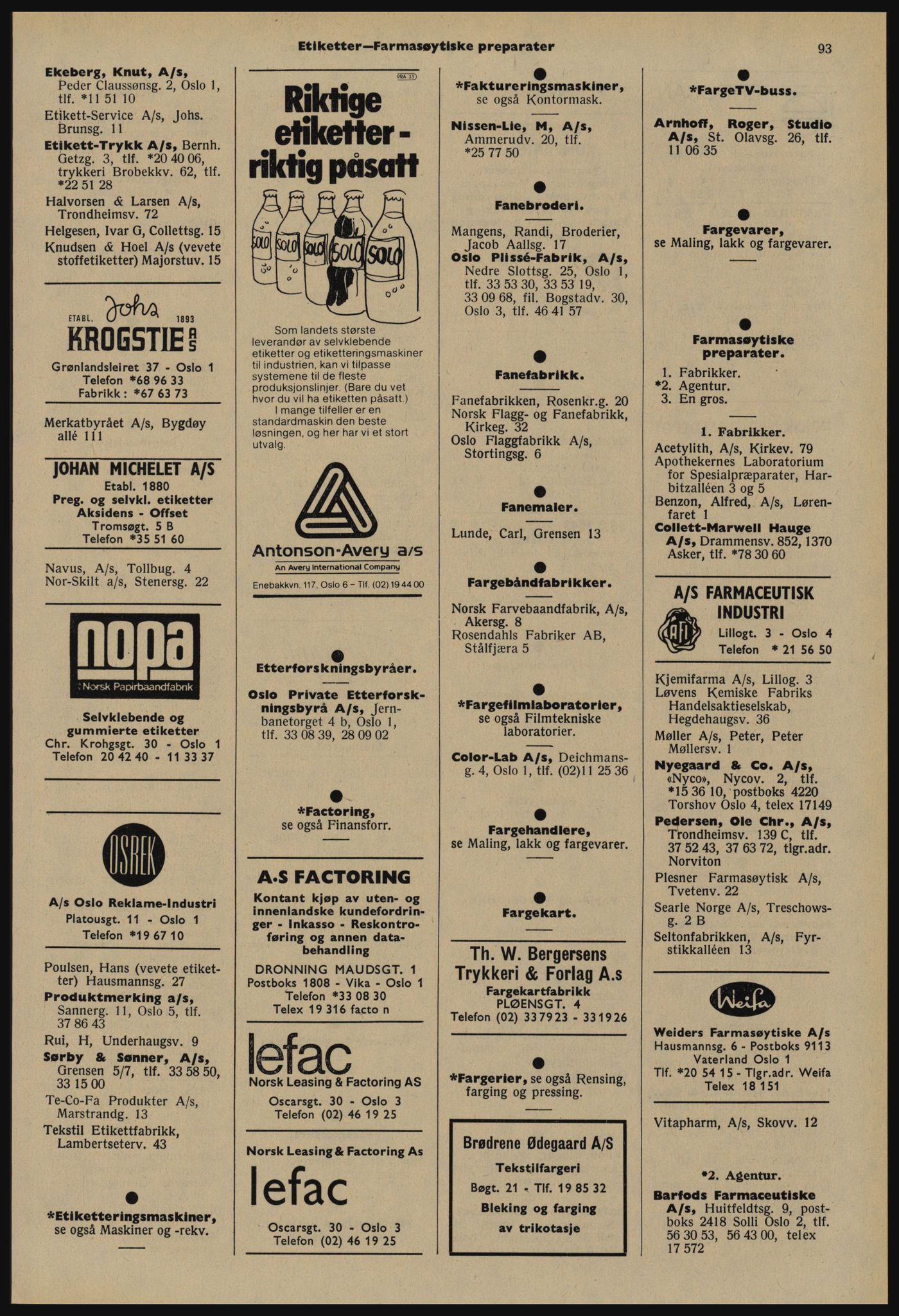 PUBL, Kristiania/Oslo adressebok, 1978-1979, s. 93