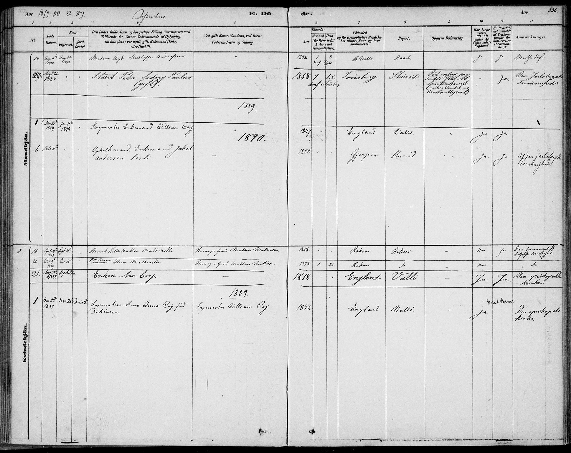 SAKO, Sem kirkebøker, F/Fb/L0004: Ministerialbok nr. II 4, 1878-1891, s. 336