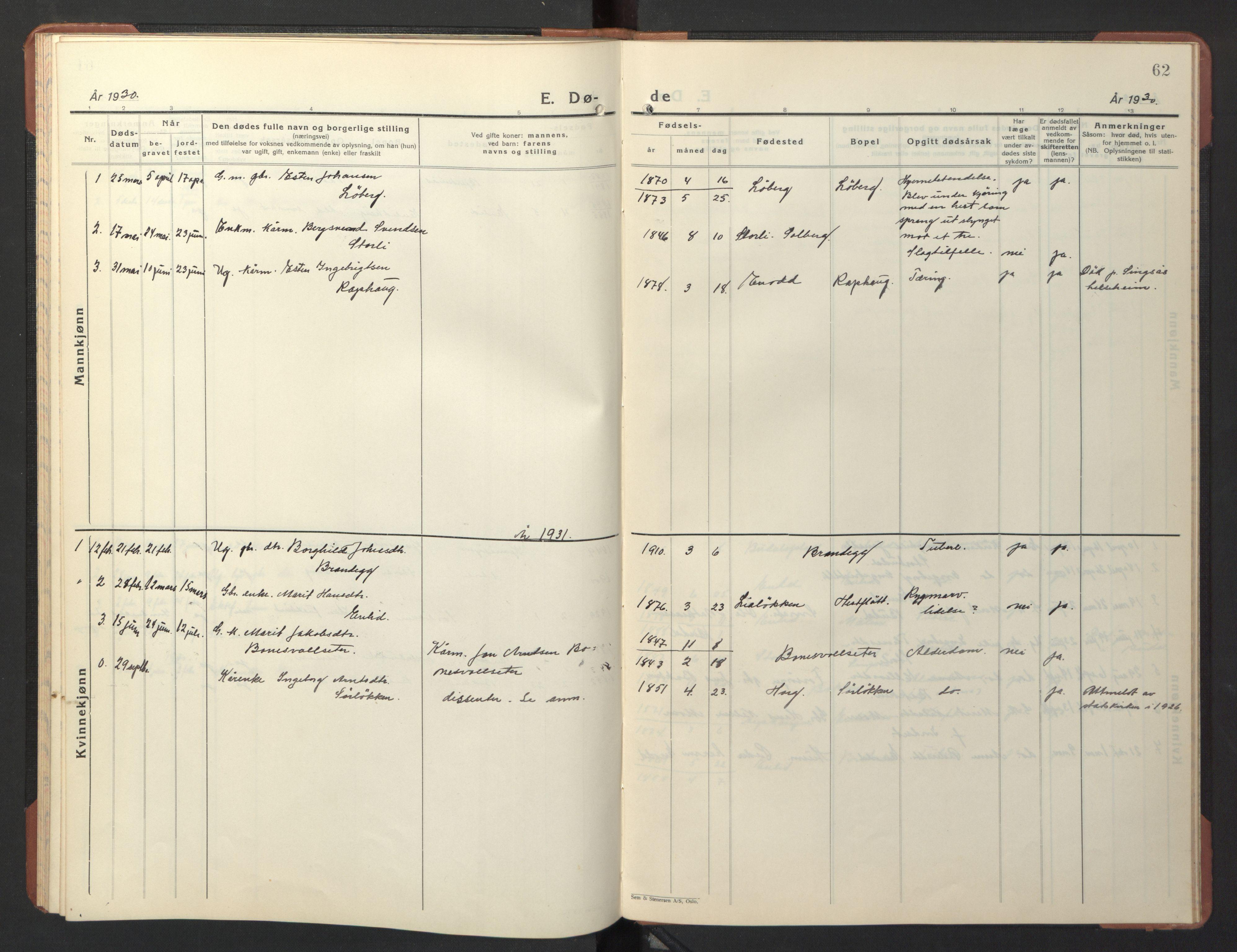 SAT, Ministerialprotokoller, klokkerbøker og fødselsregistre - Sør-Trøndelag, 690/L1053: Klokkerbok nr. 690C03, 1930-1947, s. 62