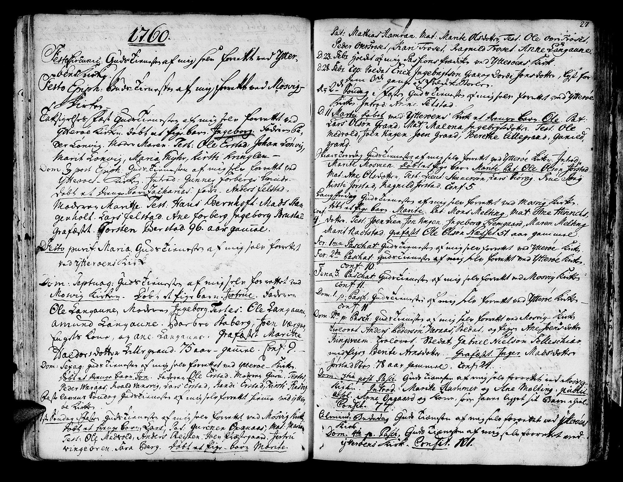 SAT, Ministerialprotokoller, klokkerbøker og fødselsregistre - Nord-Trøndelag, 722/L0216: Ministerialbok nr. 722A03, 1756-1816, s. 27