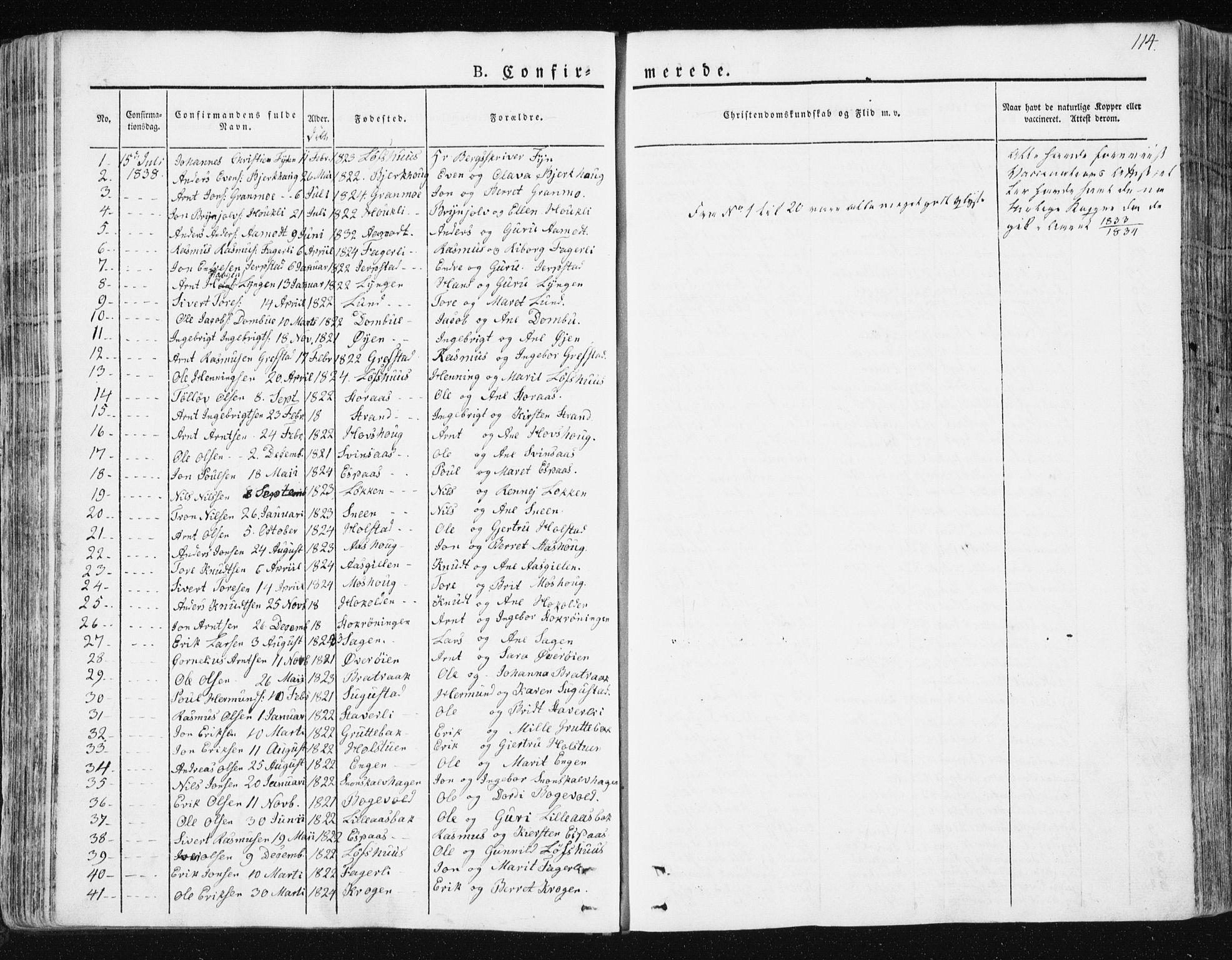 SAT, Ministerialprotokoller, klokkerbøker og fødselsregistre - Sør-Trøndelag, 672/L0855: Ministerialbok nr. 672A07, 1829-1860, s. 114