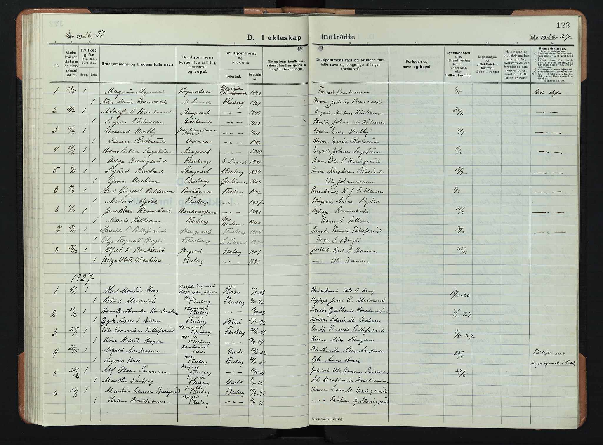 SAH, Søndre Land prestekontor, L/L0008: Klokkerbok nr. 8, 1926-1950, s. 123