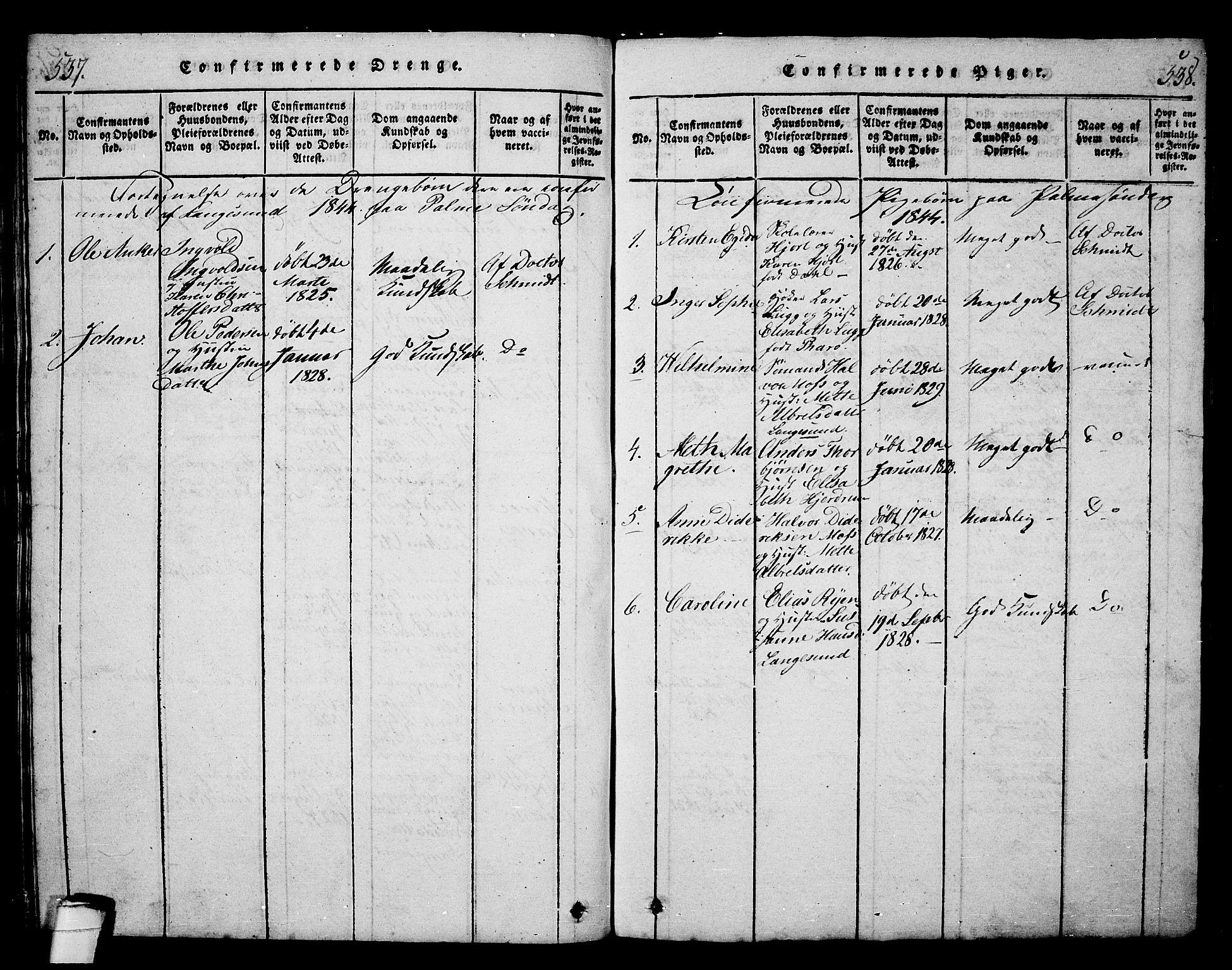 SAKO, Langesund kirkebøker, G/Ga/L0003: Klokkerbok nr. 3, 1815-1858, s. 537-538