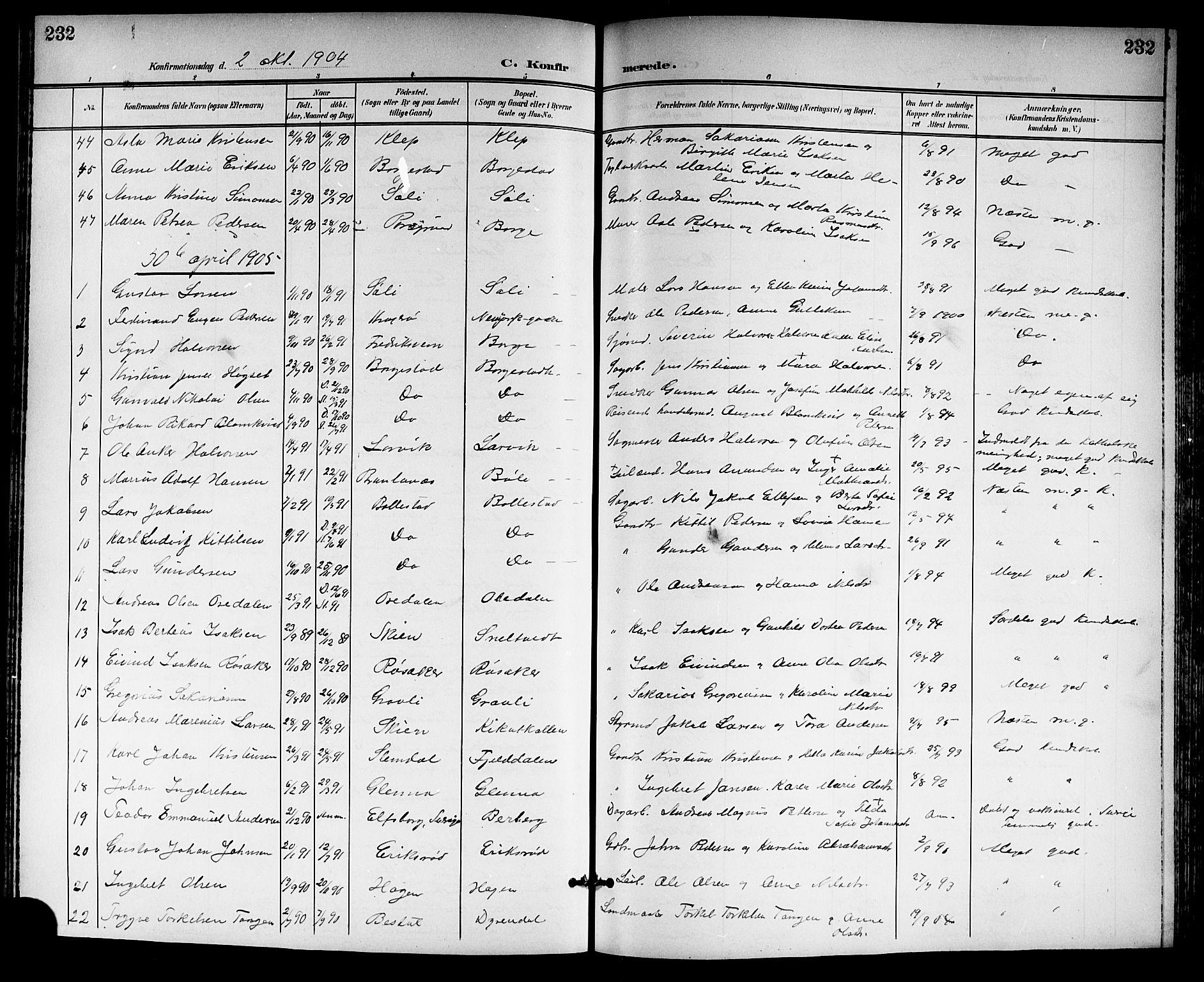 SAKO, Gjerpen kirkebøker, G/Ga/L0003: Klokkerbok nr. I 3, 1901-1919, s. 232