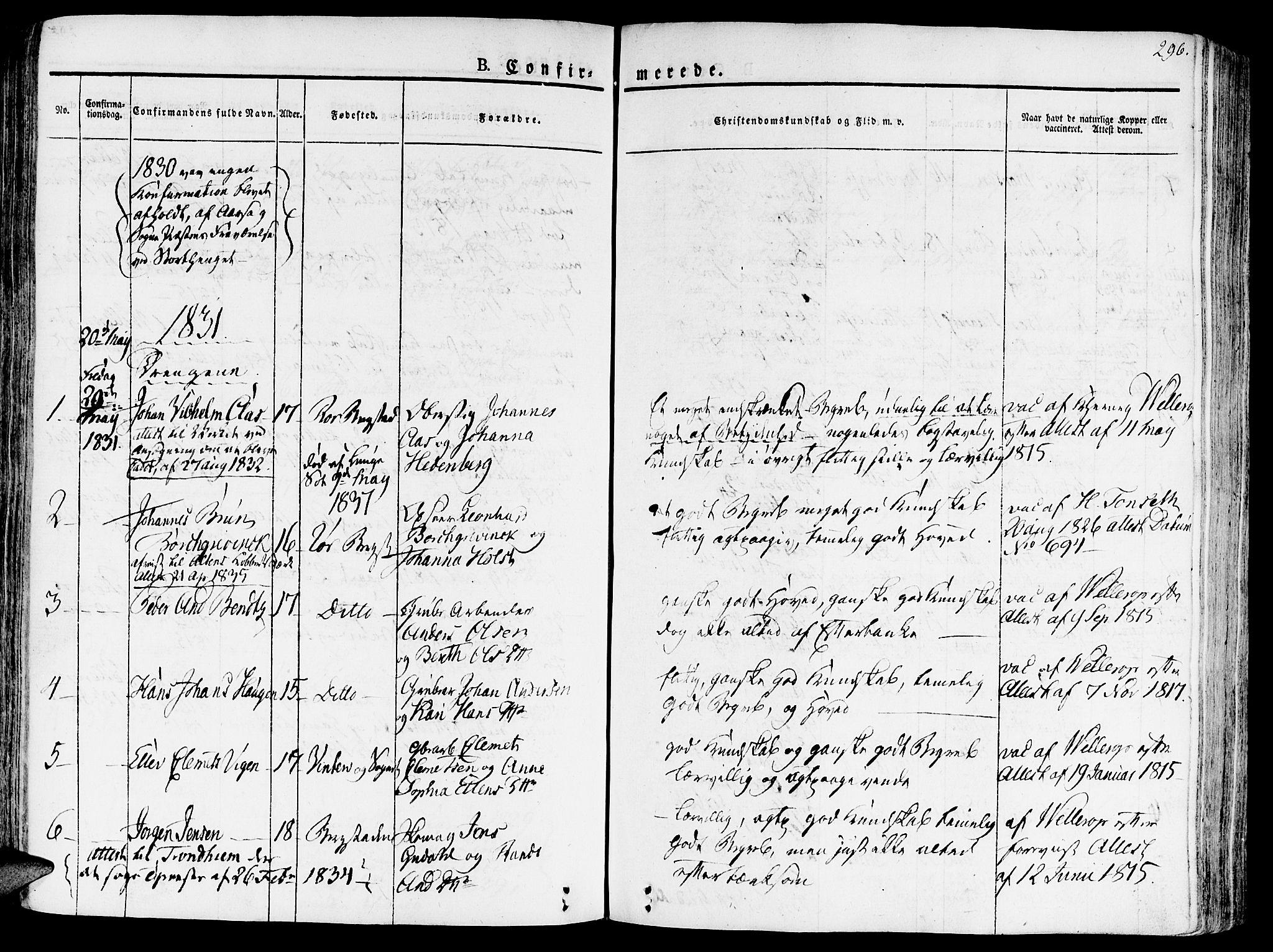 SAT, Ministerialprotokoller, klokkerbøker og fødselsregistre - Sør-Trøndelag, 681/L0930: Ministerialbok nr. 681A08, 1829-1844, s. 296