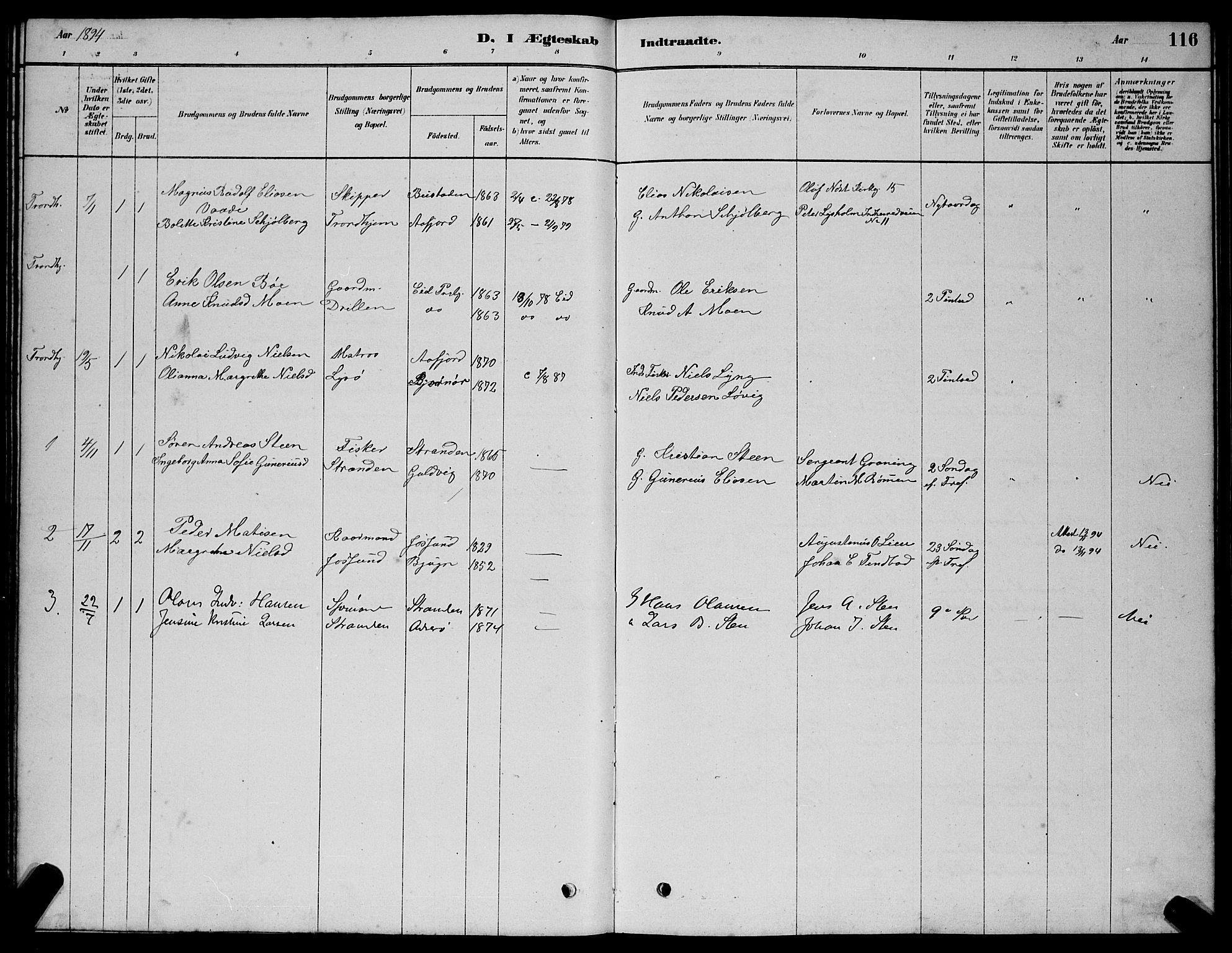 SAT, Ministerialprotokoller, klokkerbøker og fødselsregistre - Sør-Trøndelag, 654/L0665: Klokkerbok nr. 654C01, 1879-1901, s. 116