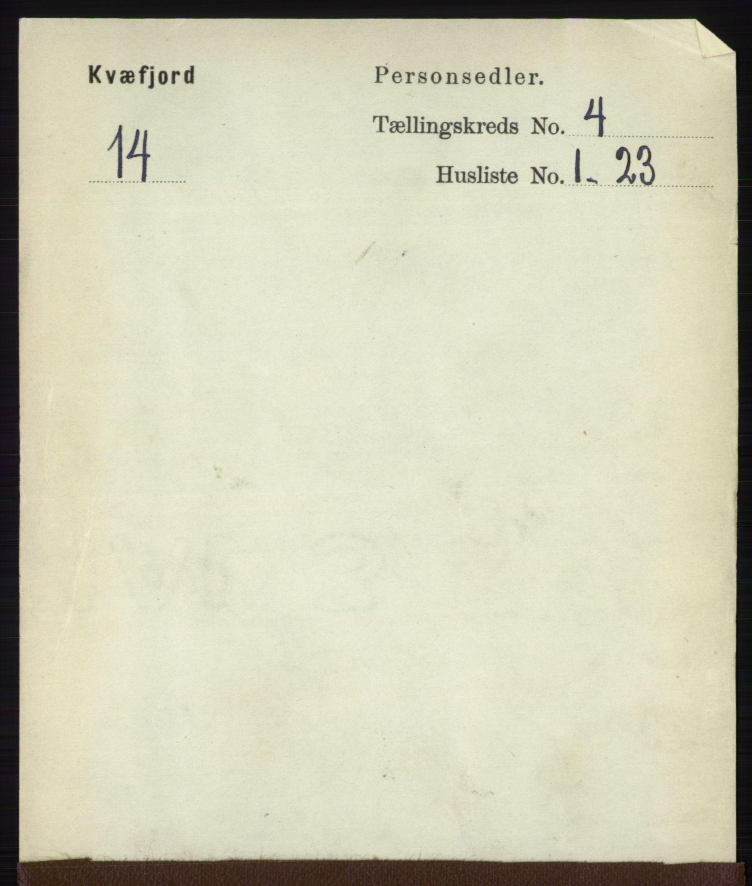 RA, Folketelling 1891 for 1911 Kvæfjord herred, 1891, s. 1890